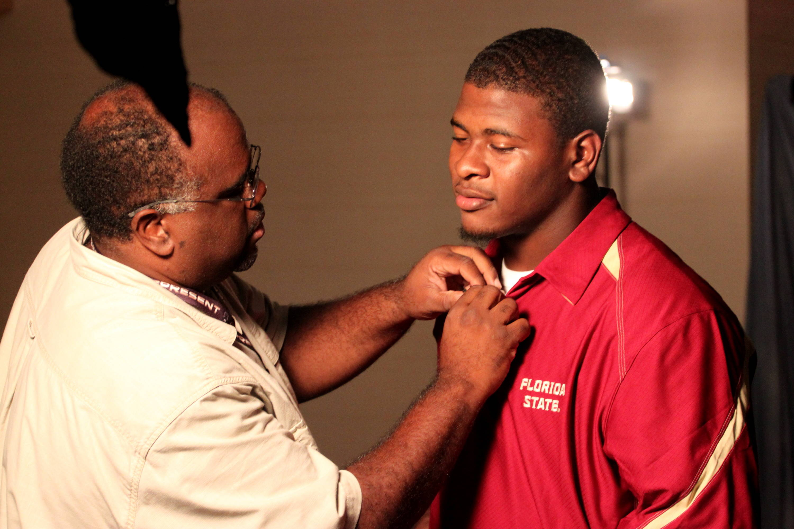 Everett Dawkins getting ready for his interview with Fox Sports South.