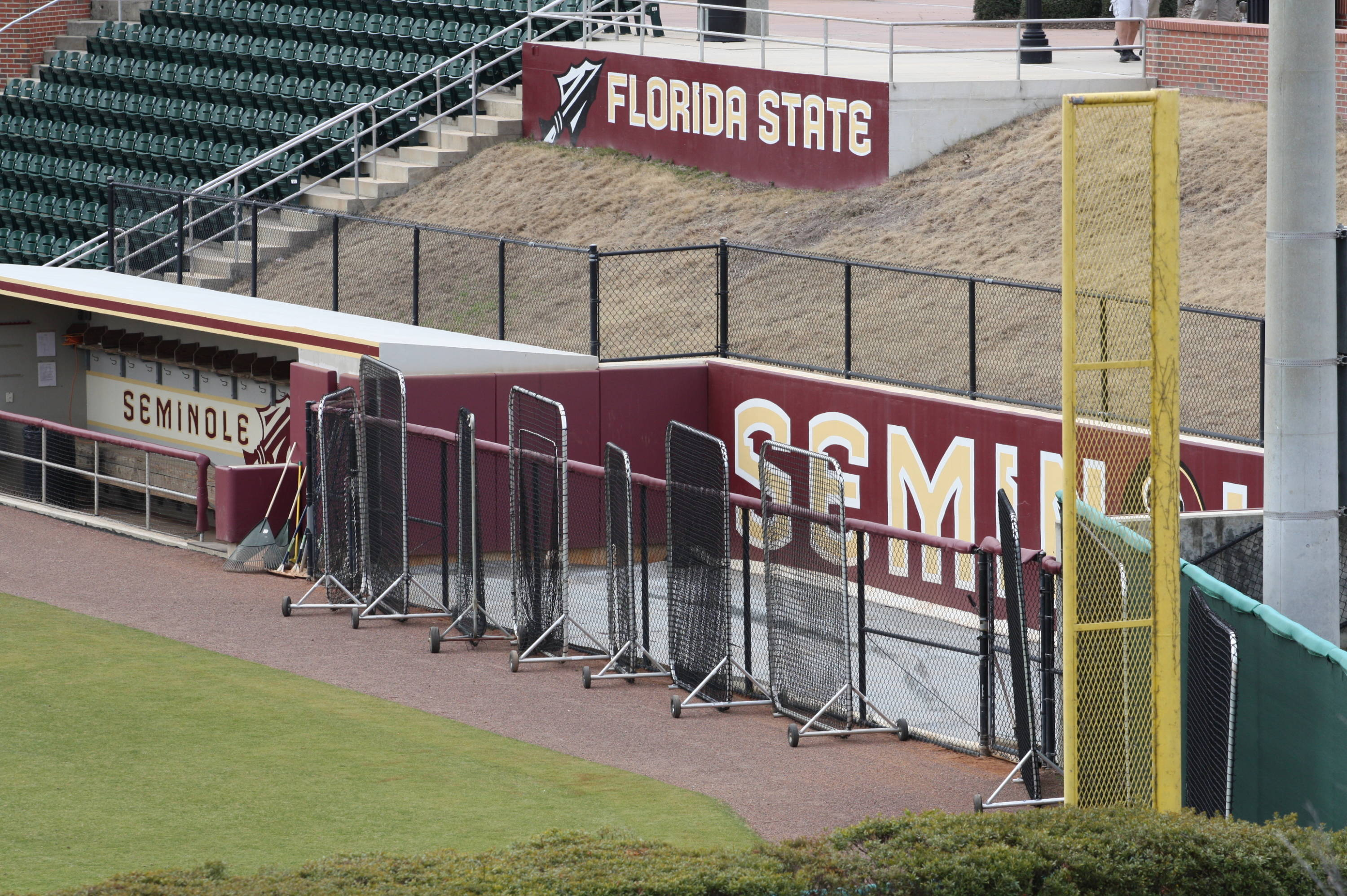 A view of the visiting bullpen