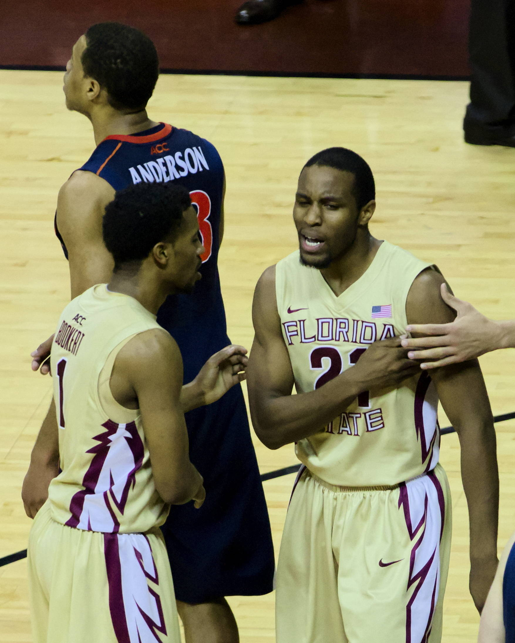 Michael Snear (21) with a chest pump after his game winning shot dropped in, FSU vs Virginia, 03/07/13. (Photo by Steve Musco)