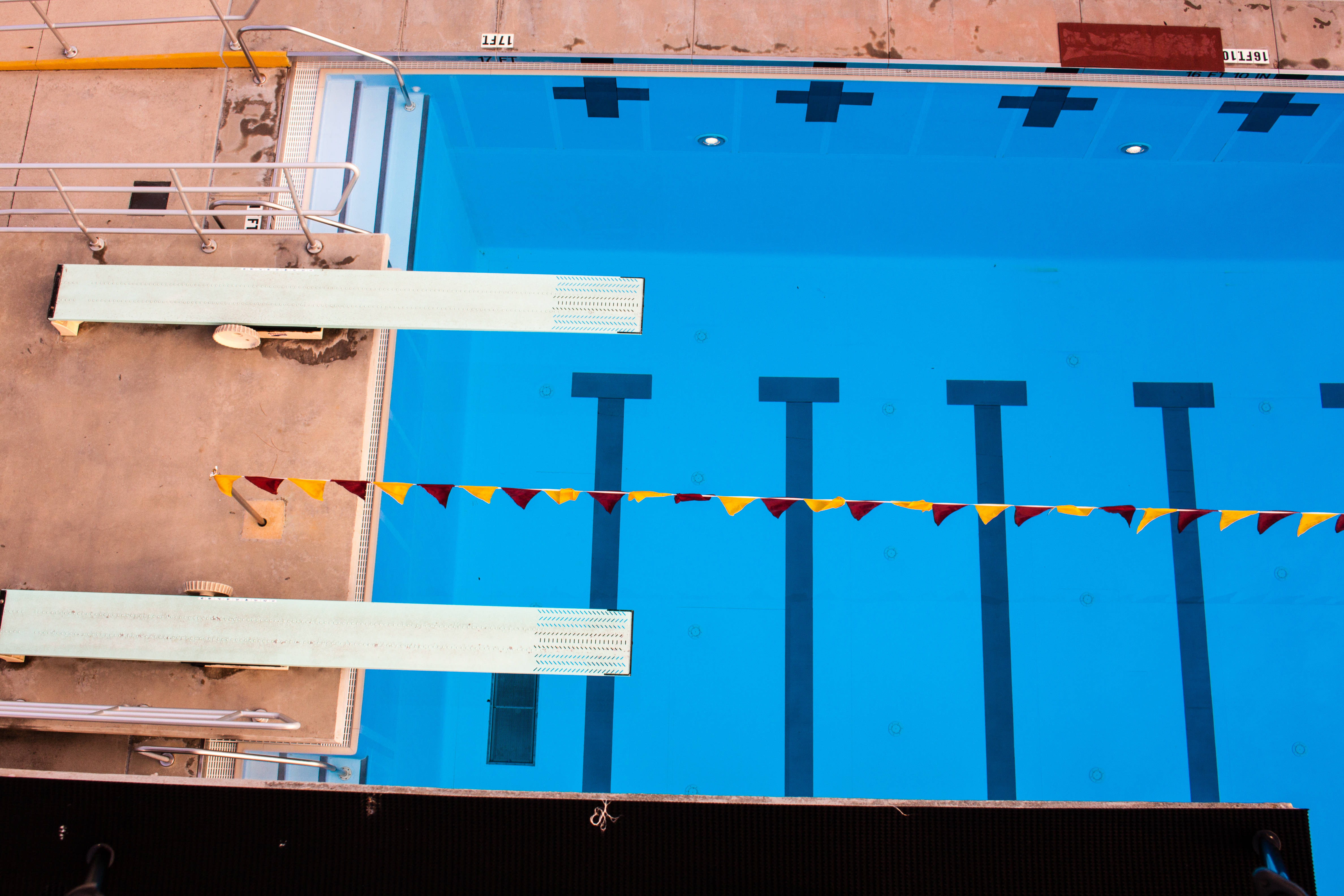 A view of the 1-meter diving boards