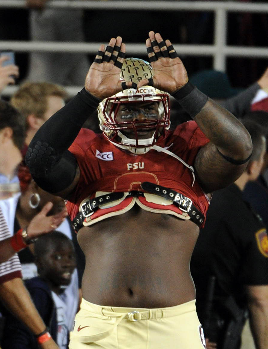 Florida State Seminoles defensive tackle Timmy Jernigan (8) before the start of the game against the Miami Hurricanes at Doak Campbell Stadium. Mandatory Credit: Melina Vastola-USA TODAY Sports