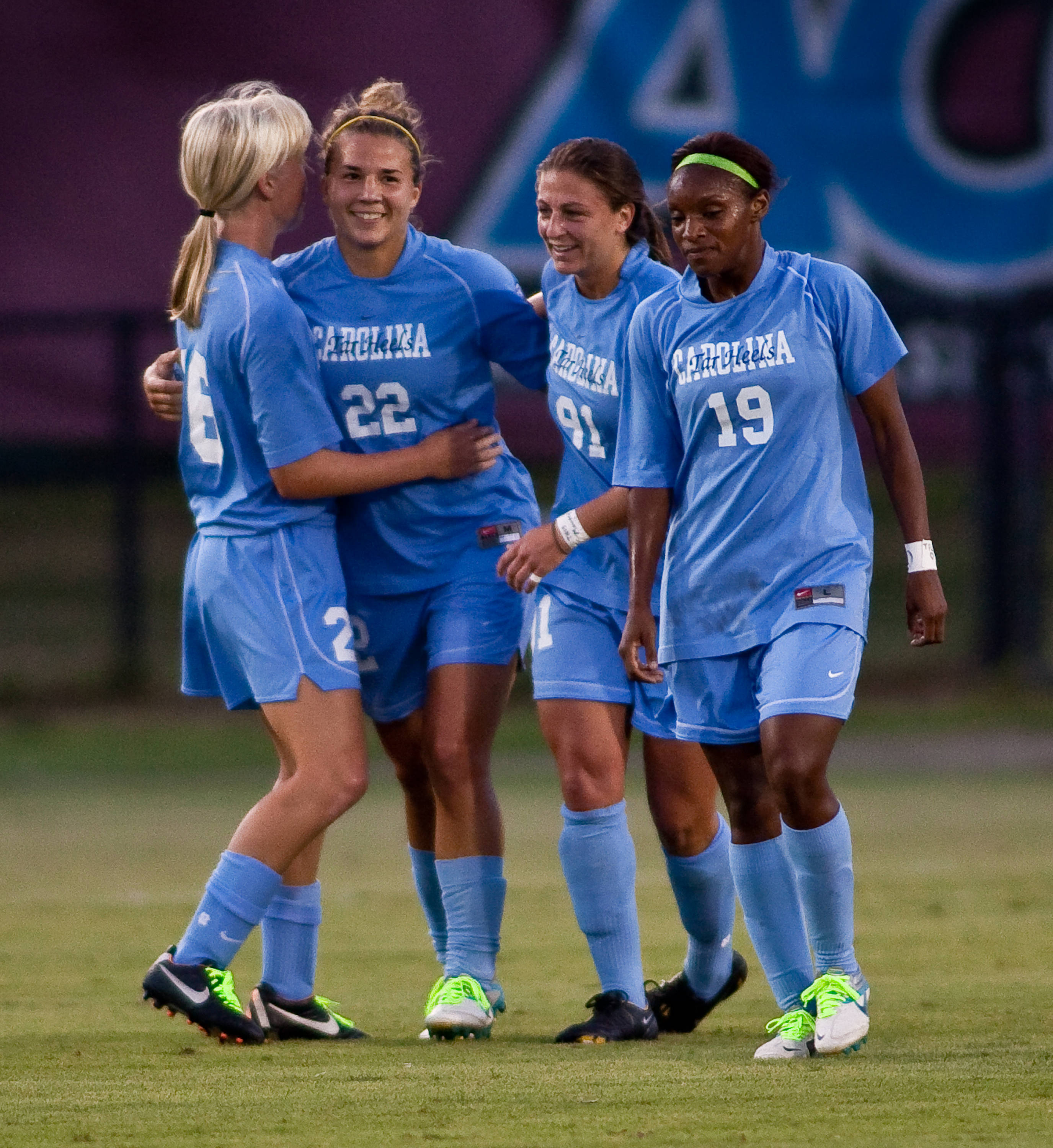 The Tar Heels celebrate after scoring the first goal of the game.