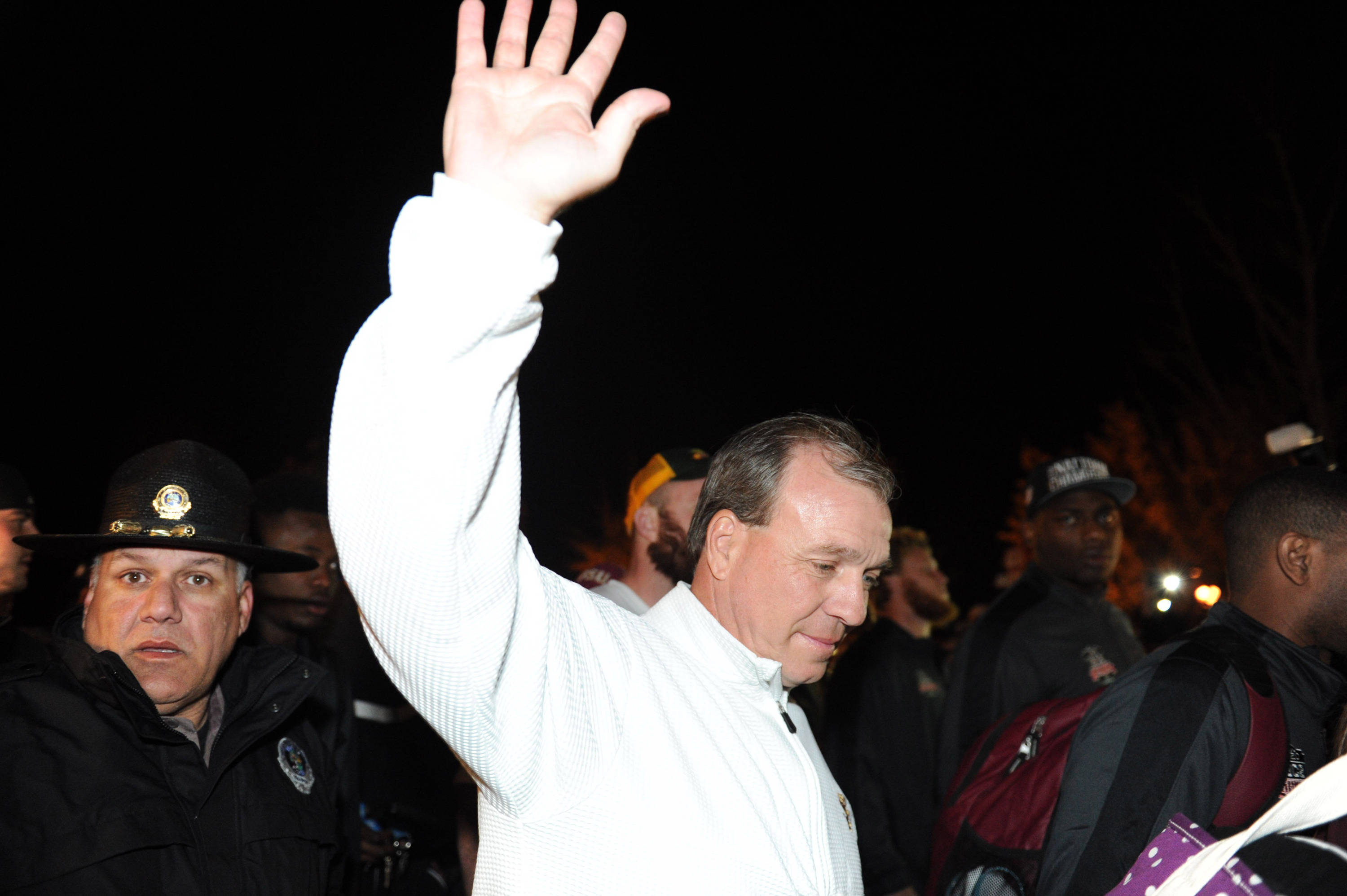 Jan 7, 2014; Tallahassee, FL, USA; Florida State Seminoles head coach Jimbo Fisher greets fans as they welcome back players to Doak Campbell Stadium after winning the BCS National Championship. Mandatory Credit: Melina Vastola-USA TODAY Sports