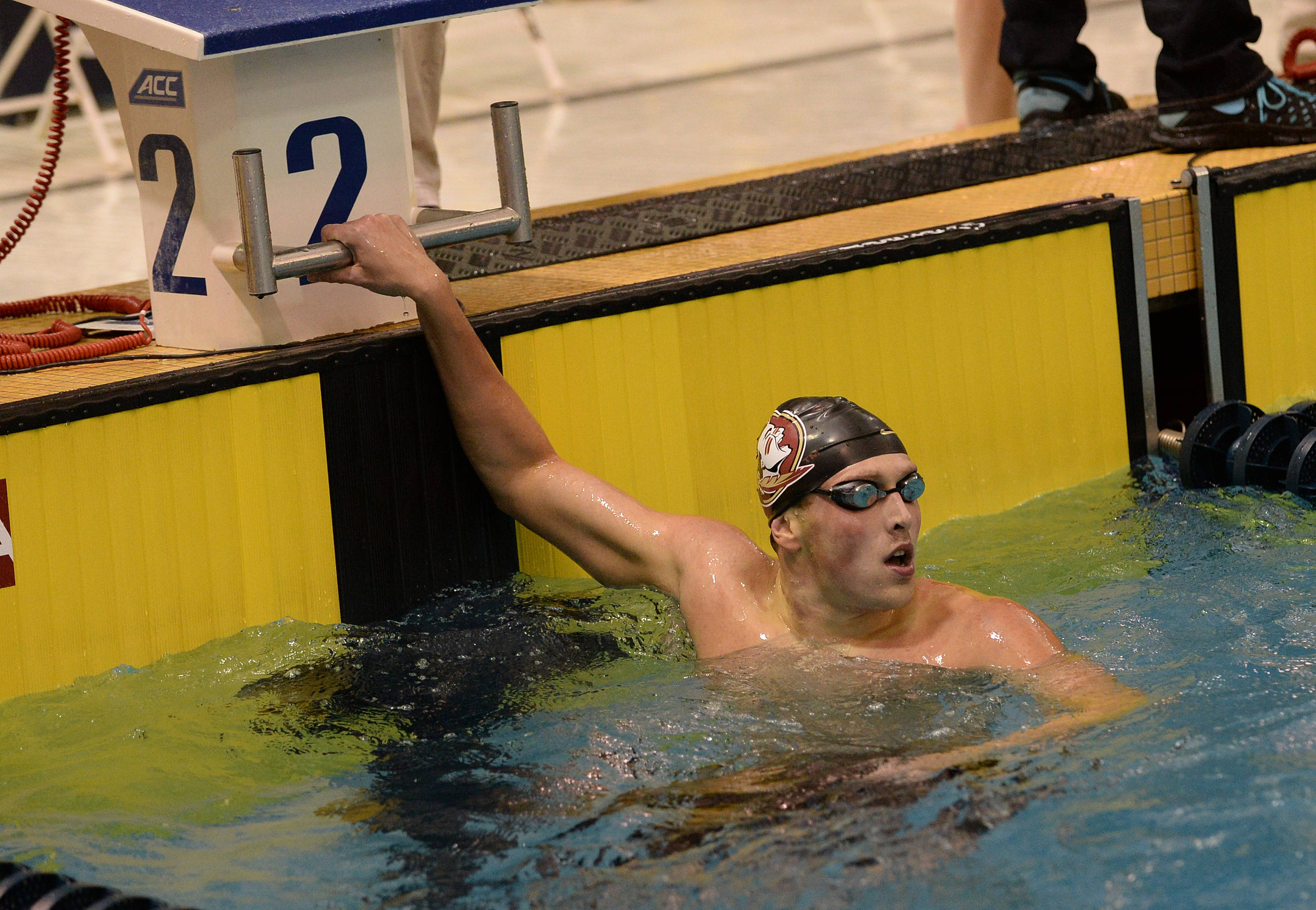 Anthony Lyons looks back at his time for the 200 free - Mitch White