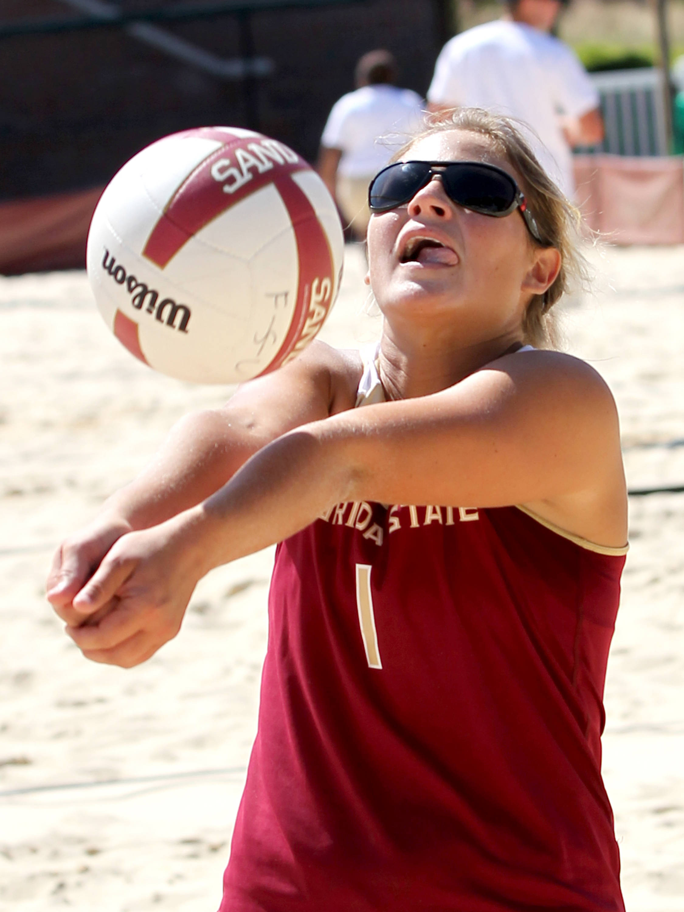 Melanie Pavels, Sand Volleyball Tournament,  04/20/13 . (Photo by Steve Musco)