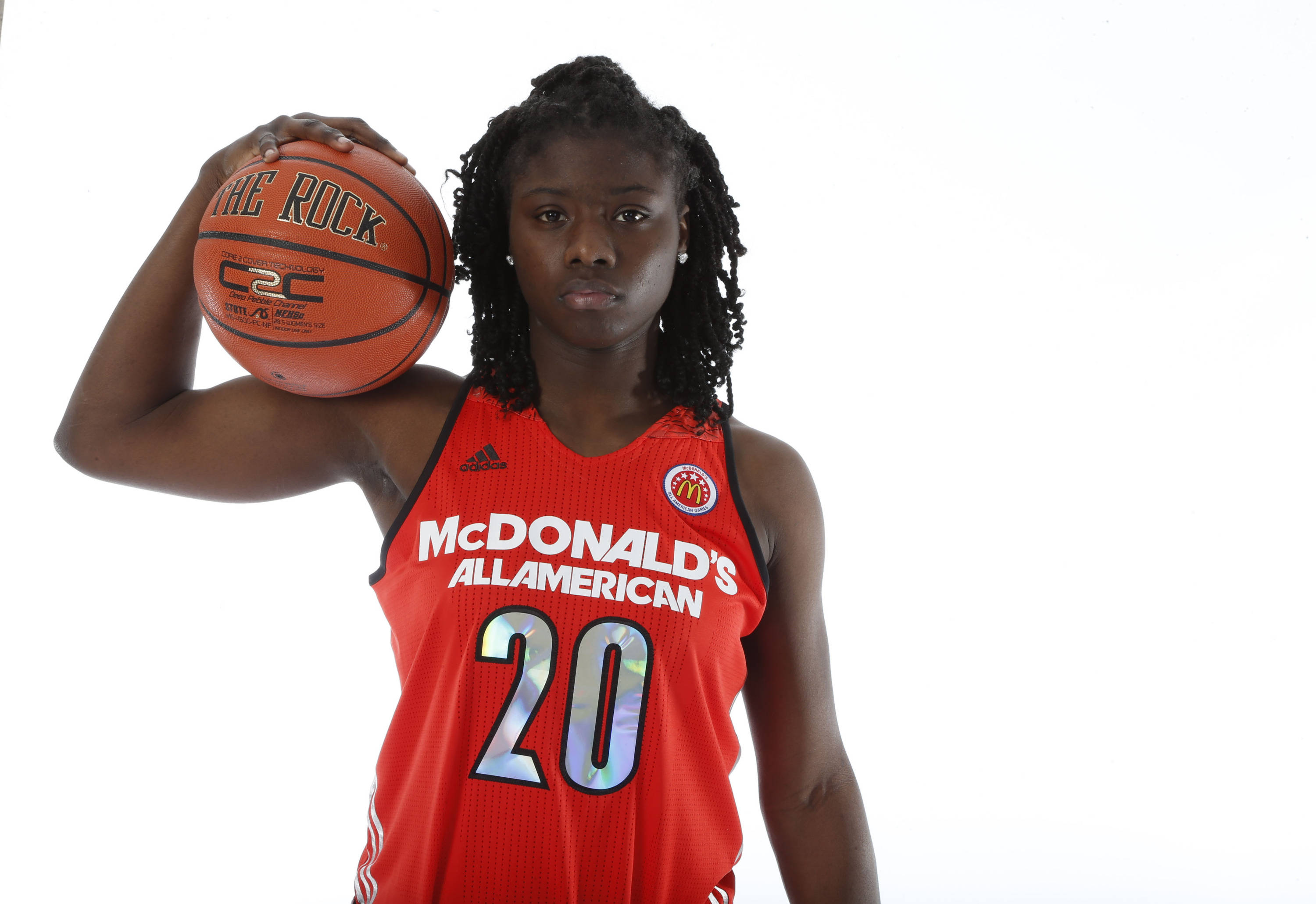 Mar 29, 2014; Chicago, IL, USA; McDonalds High School All American guard Shakayla Thomas (20) poses for photos on portrait day at the Marriott Hotel. Brian Spurlock-USA TODAY Sports