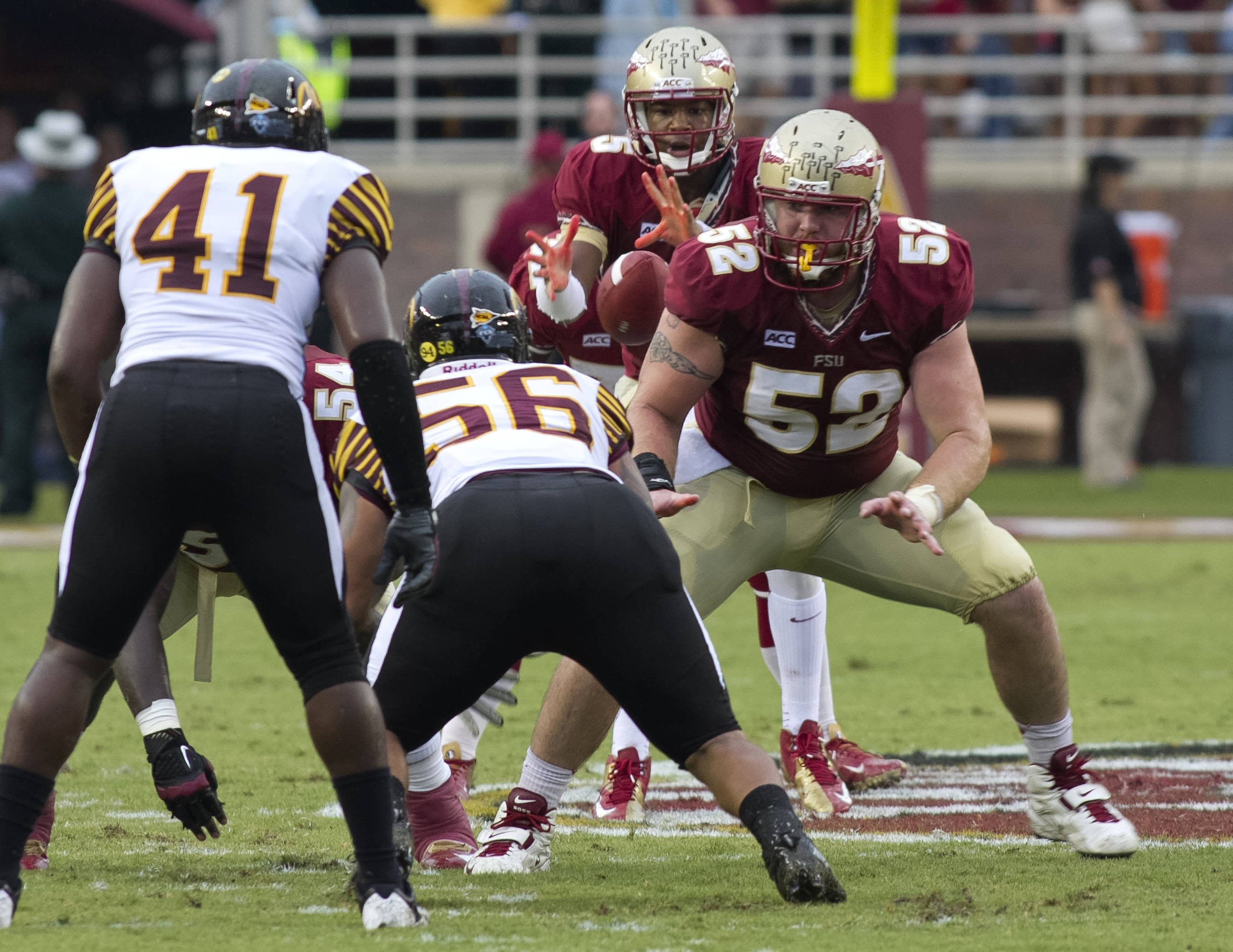 Jameis Winston (5), Bryan Stork (52), FSU vs Bethune-Cookman,  9-21-13, (Photo by Steve Musco)
