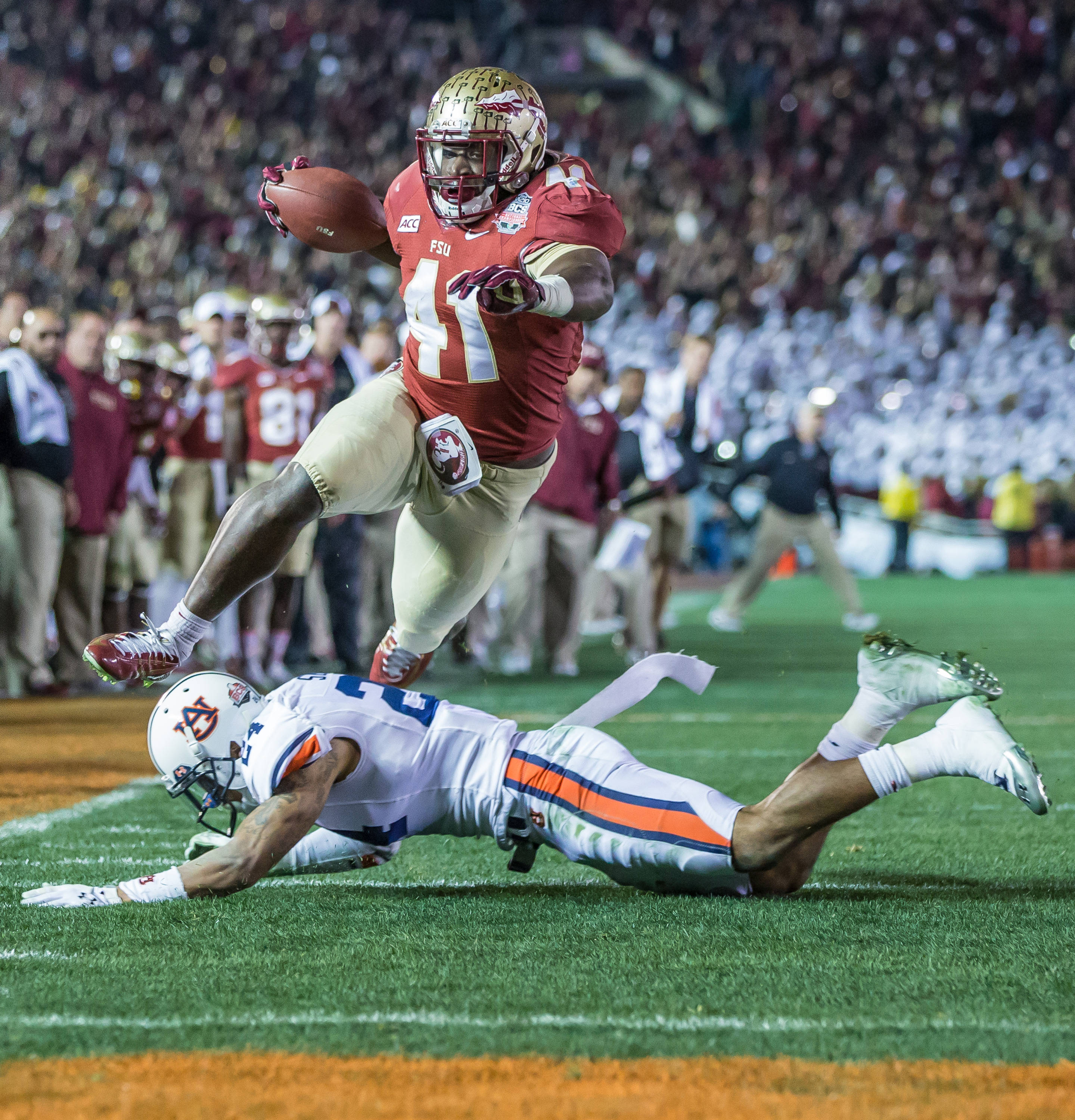 Chad Abram (41) scores FSU's 2nd TD at the start of the 4th quarter.