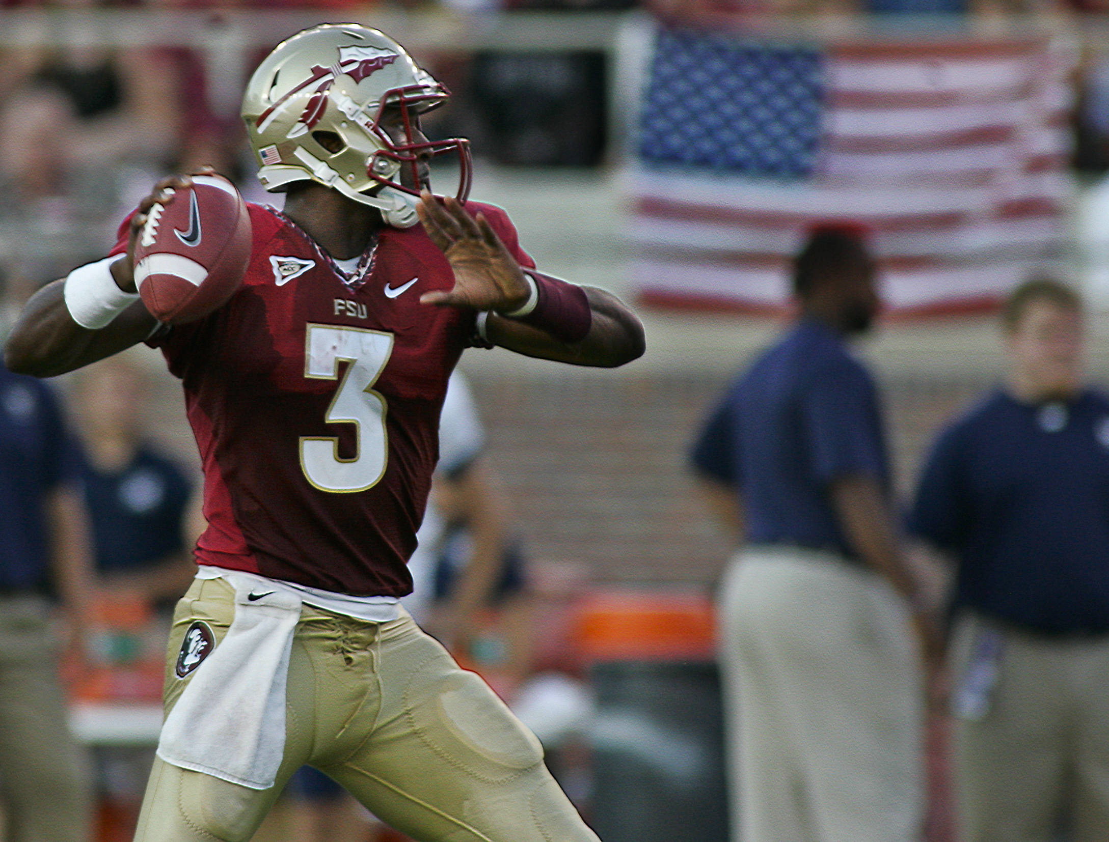 Florida State quarterback E.J. Manuel (3) looks for a receiver against Charleston Southern in the second quarter of an NCAA college football game on Saturday, Sept. 10, 2011, in Tallahassee, Fla. (AP Photo/Phil Sears)