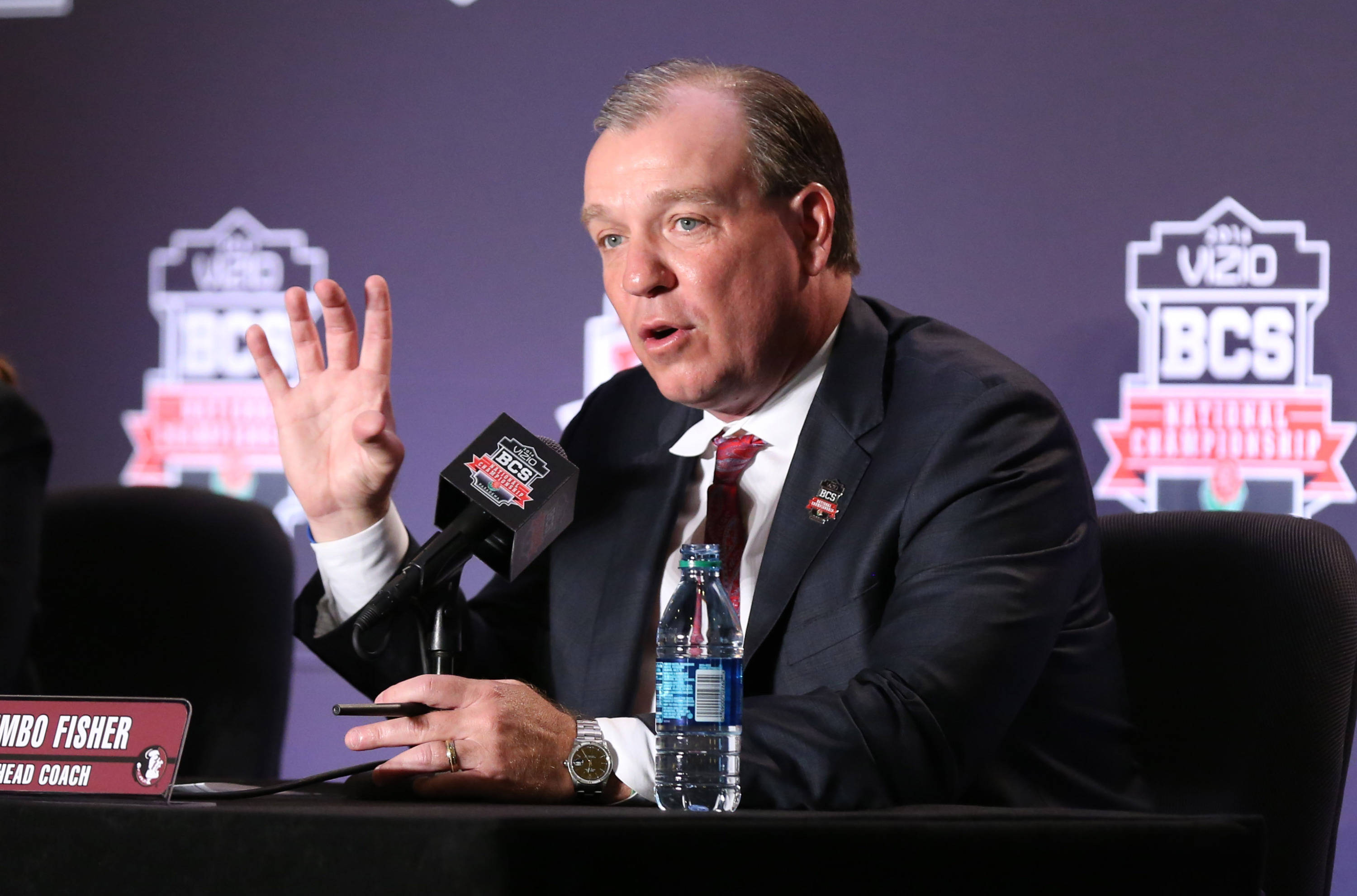 Jan 5, 2014; Los Angeles, CA, USA; Florida State Seminoles head coach Jimbo Fisher answers questions during a press conference at Newport Beach Marriott. Mandatory Credit: Matthew Emmons-USA TODAY Sports