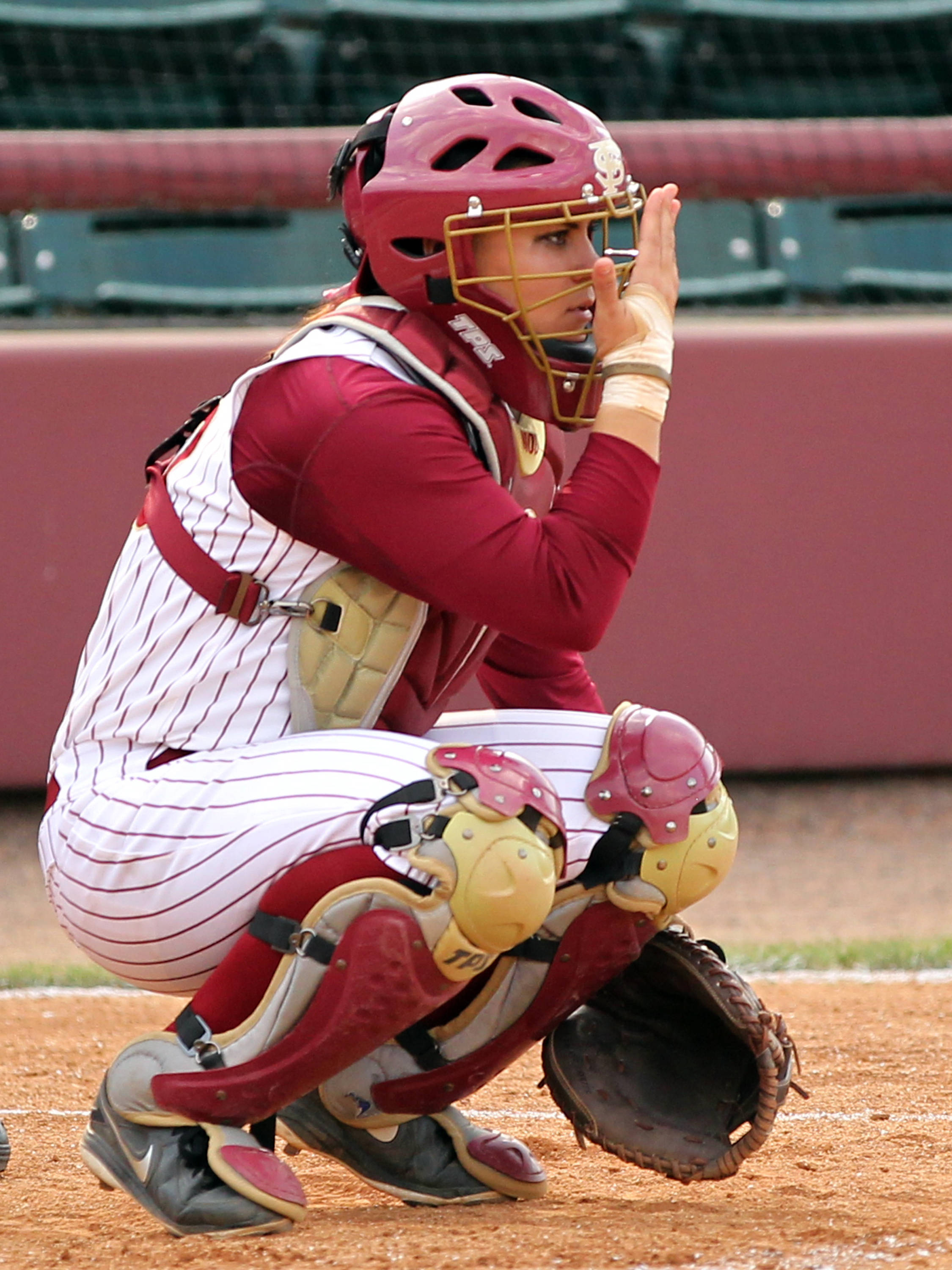 Celeste Gomez giving a signal to the infield, FSU VS BC, ACC Championship Quarterfinals, Tallahassee, FL,  05/09/13 . (Photo by Steve Musco)