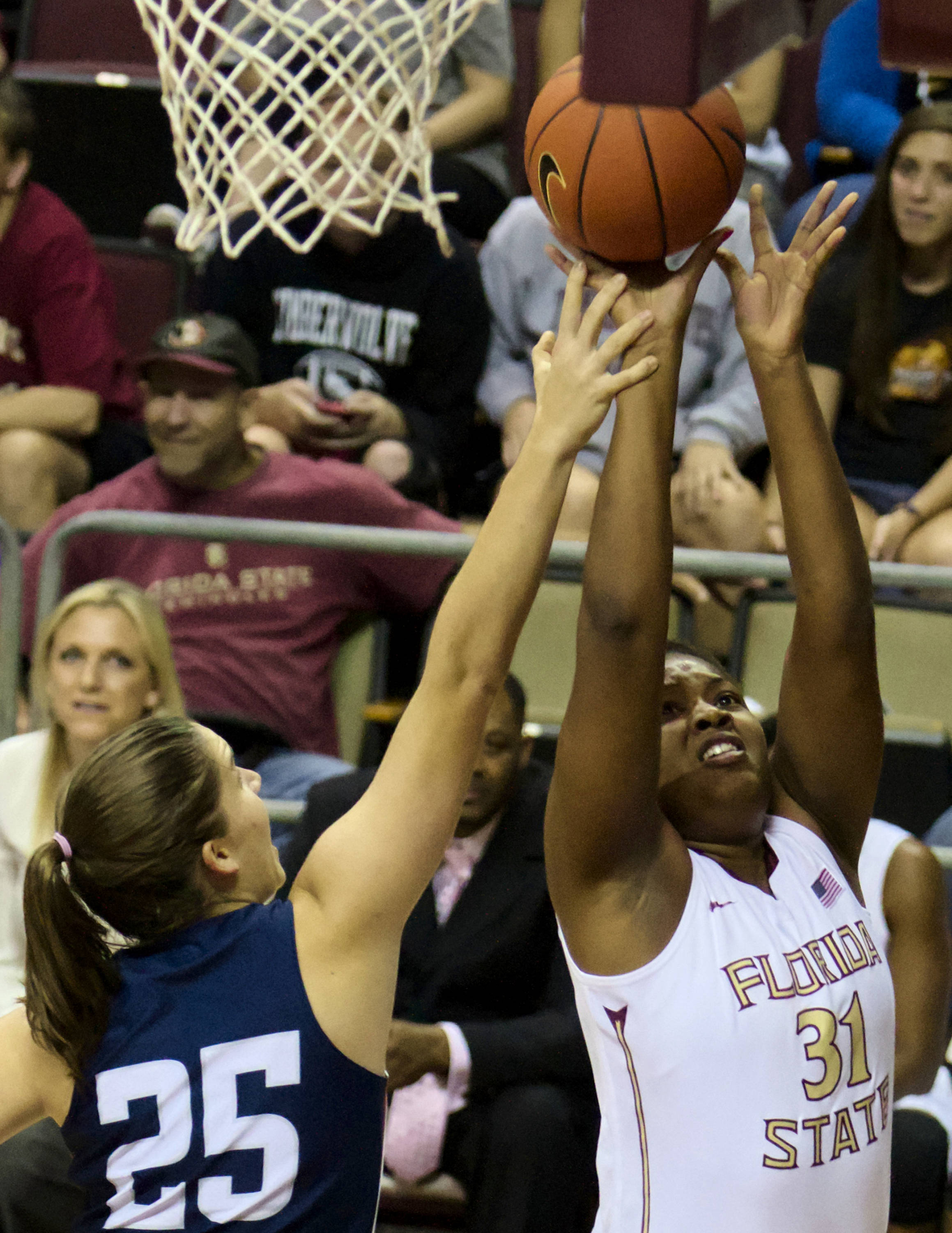 Ebony Wells (31), FSU vs Samford, 11/11/12. (Photo by Steve Musco)