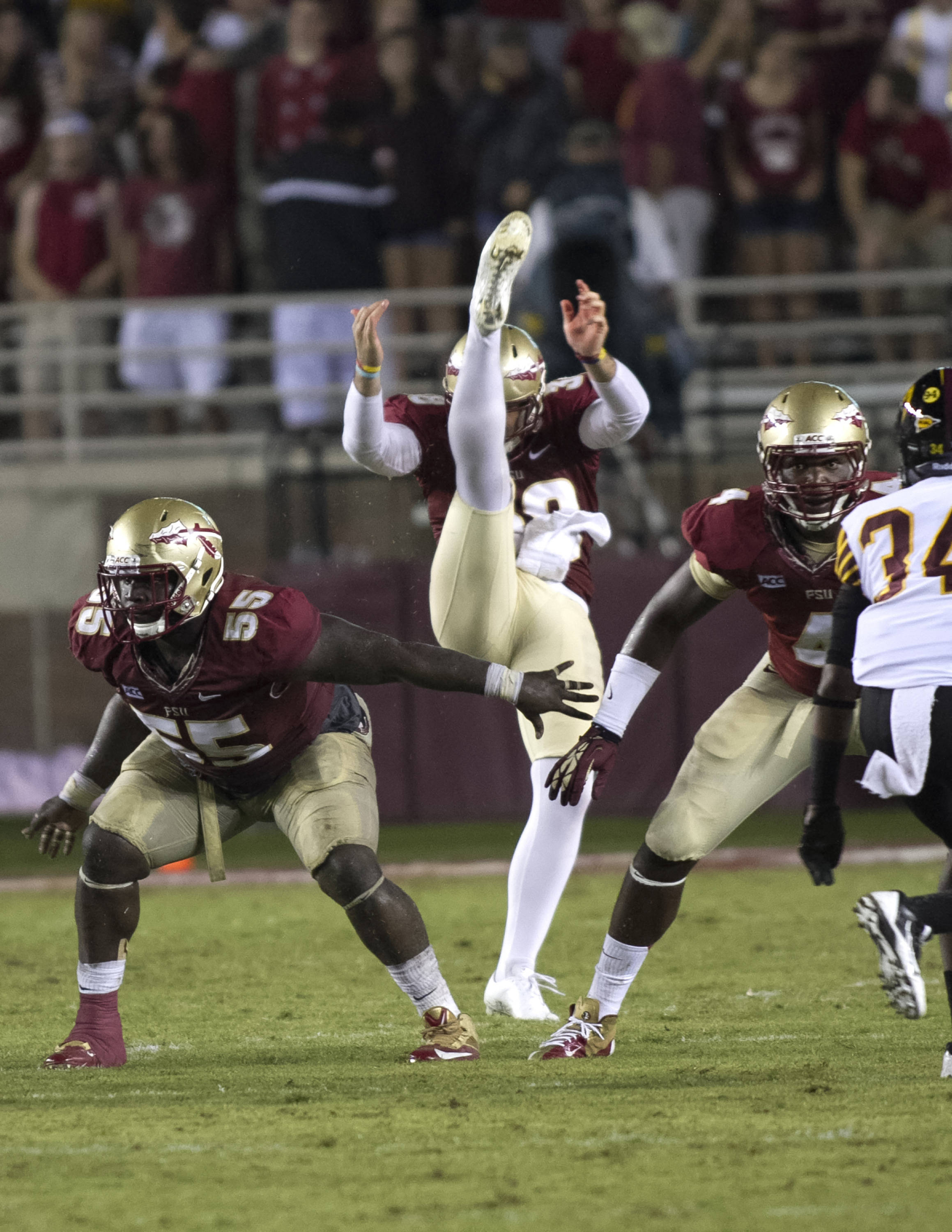 Ira Denson (55), Cason Beatty (38), Cameron Ponder (44), FSU vs Bethune-Cookman,  9-21-13, (Photo by Steve Musco)