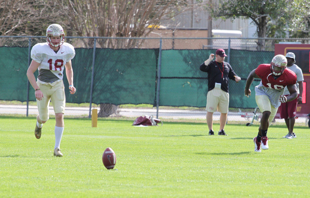 PK Dustin Hopkins gets set for a kickoff during practice.