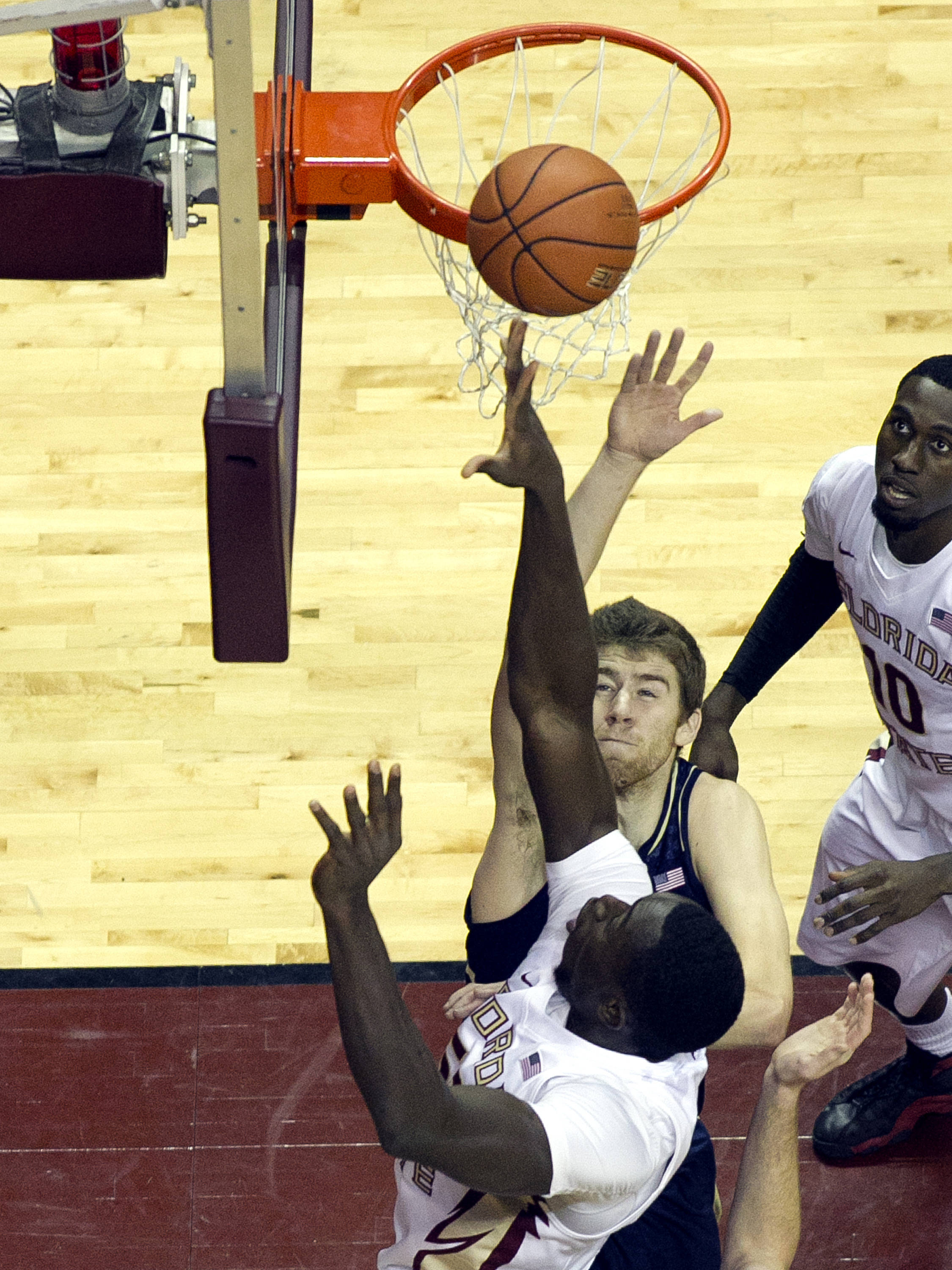Okaro White (10) with a put back lay-up, FSU vs Notre Dame, 1-21-14, (Photo's by Steve Musco)