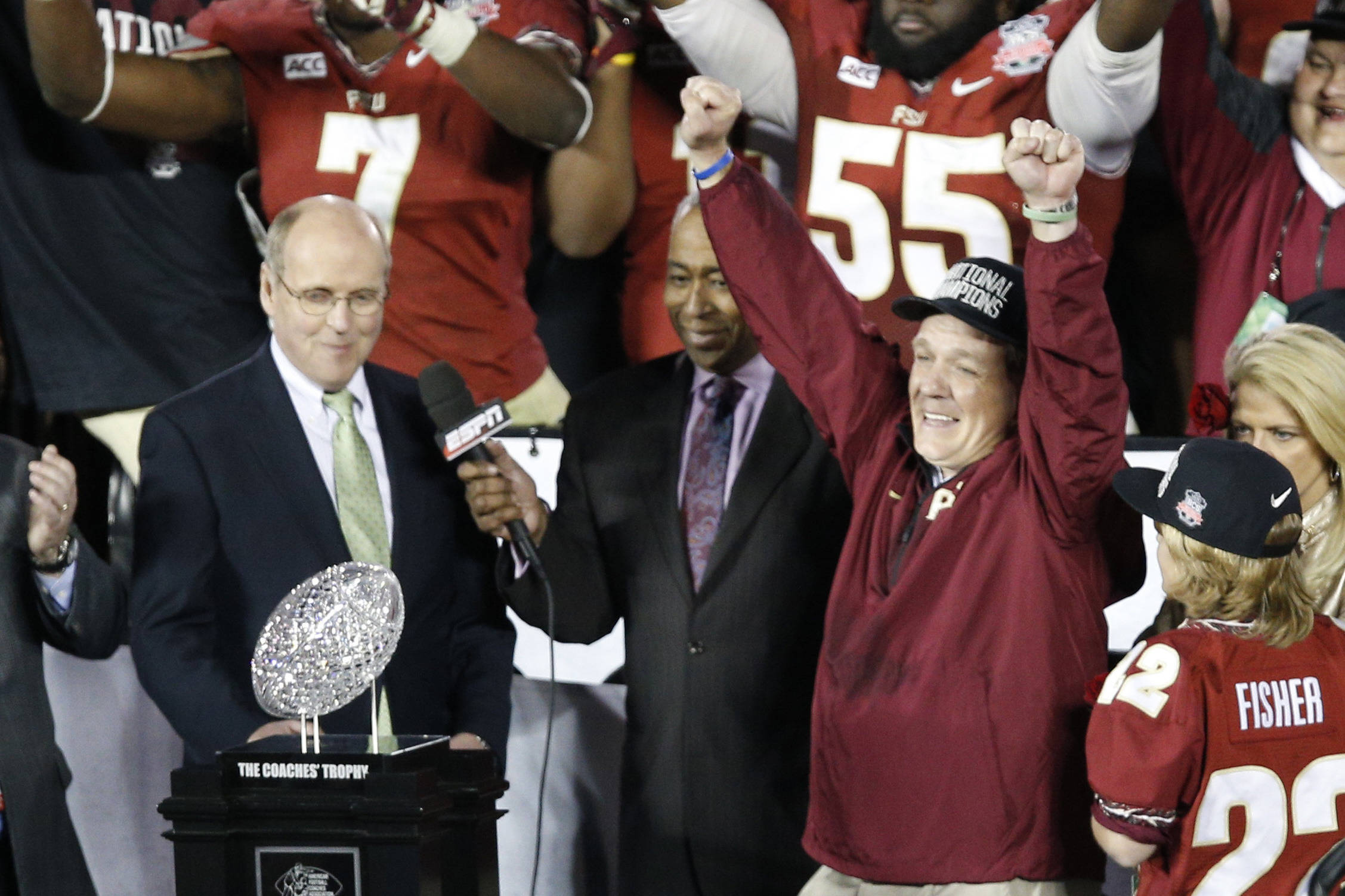 Jan 6, 2014; Pasadena, CA, USA; Florida State Seminoles head coach Jimbo Fisher celebrates after defeating Auburn Tigers 34-31 in the 2014 BCS National Championship game at the Rose Bowl.  Mandatory Credit: Kelvin Kuo-USA TODAY Sports