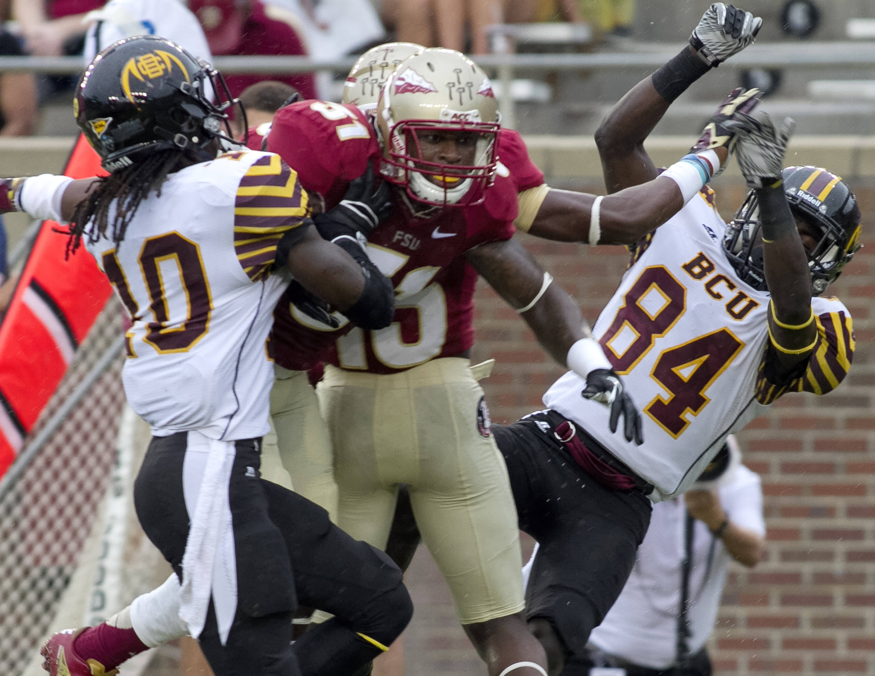 Kenny Shaw (81), FSU vs Bethune-Cookman,  9-21-13, (Photo by Steve Musco)