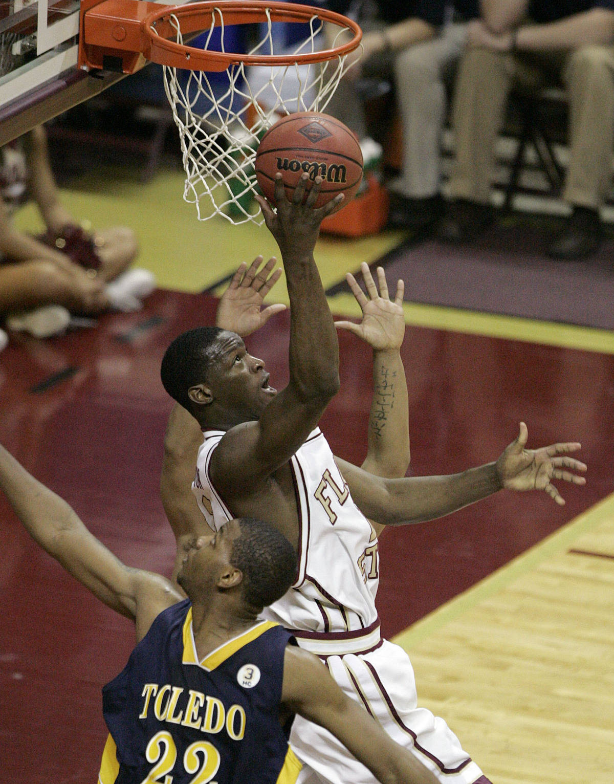 Florida State's Al Thornton spins past a Toledo defender. (AP Photo/Steve Cannon)