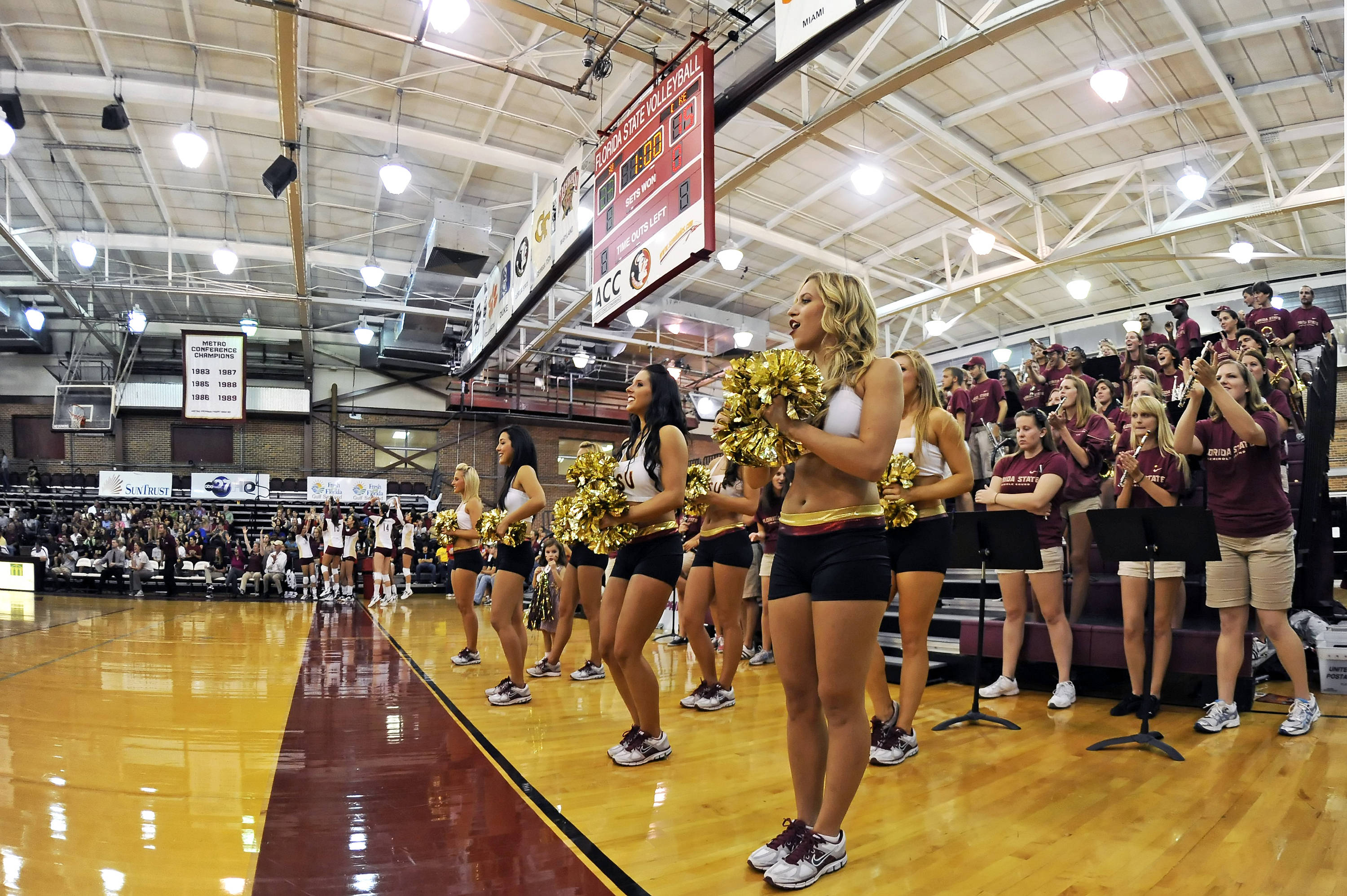The cheerleaders and band help create a tremendous atmosphere.
