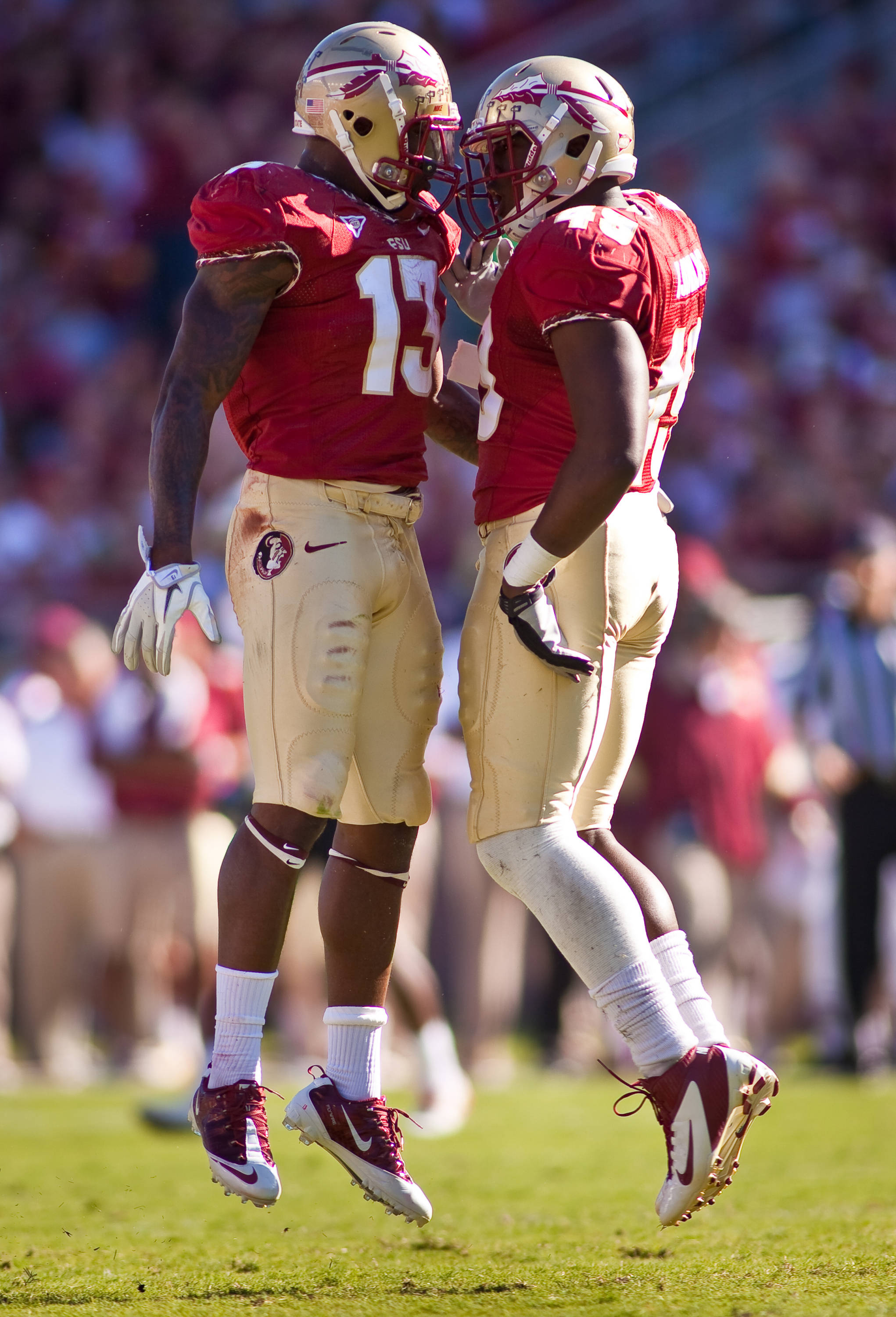 Nigel Bradham (13), Brandon Jenkins (49) celebrate after a big sack against Maryland