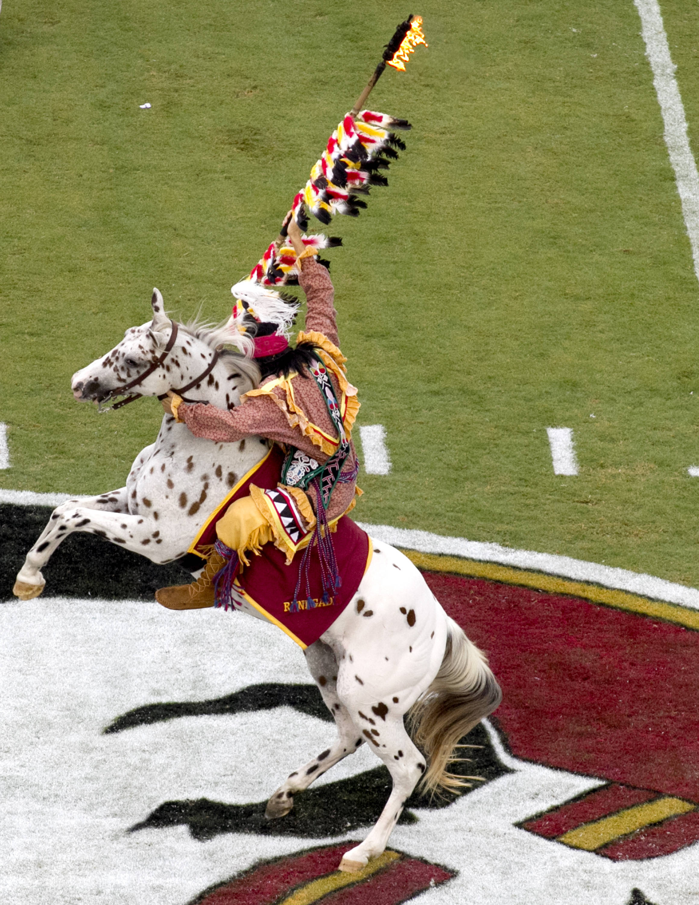 Chief Osceola and Renegade, FSU vs Bethune-Cookman,  9-21-13, (Photo by Steve Musco)