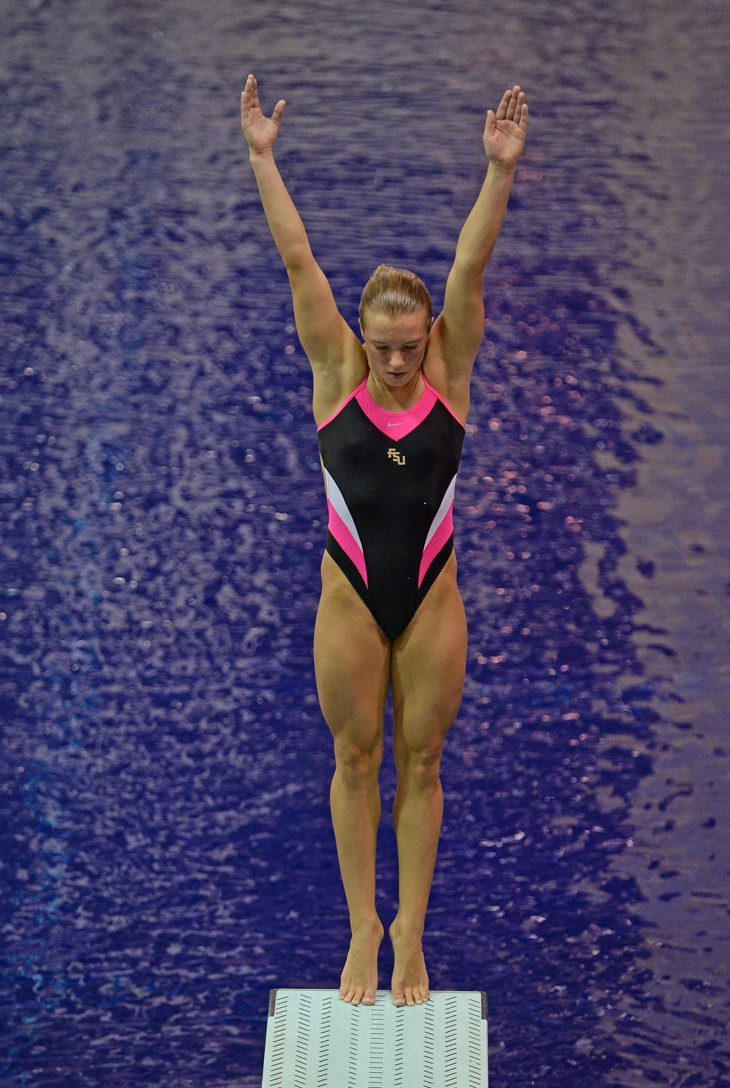 Katrina Young gets ready for a 1-meter dive - Mitch White