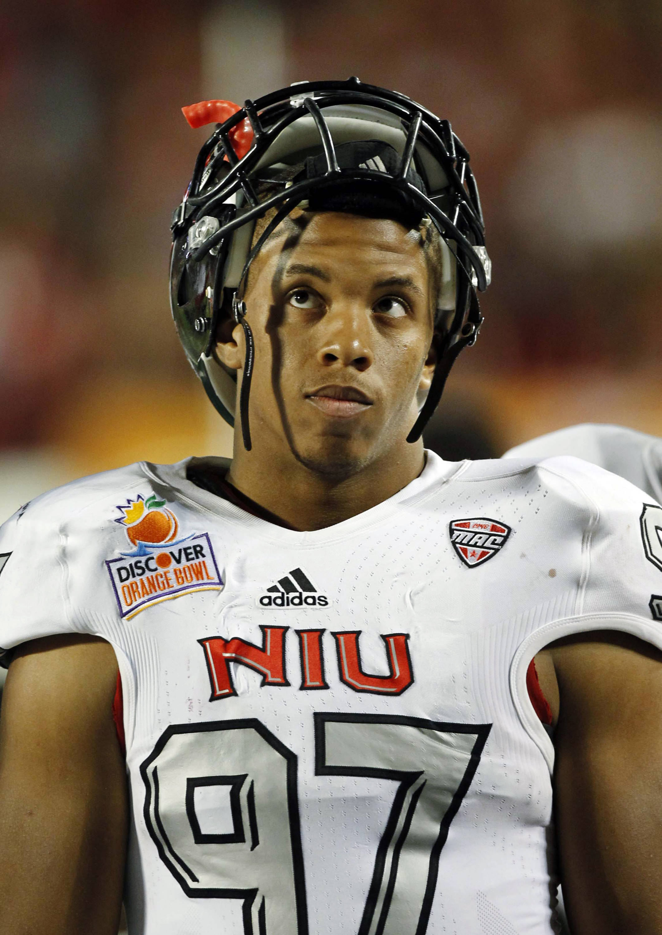 Northern Illinois defensive end Joe Windsor (97) looks up during the second half of the Orange Bowl NCAA college football game against Florida State, Tuesday, Jan. 1, 2013, in Miami. (AP Photo/Alan Diaz)
