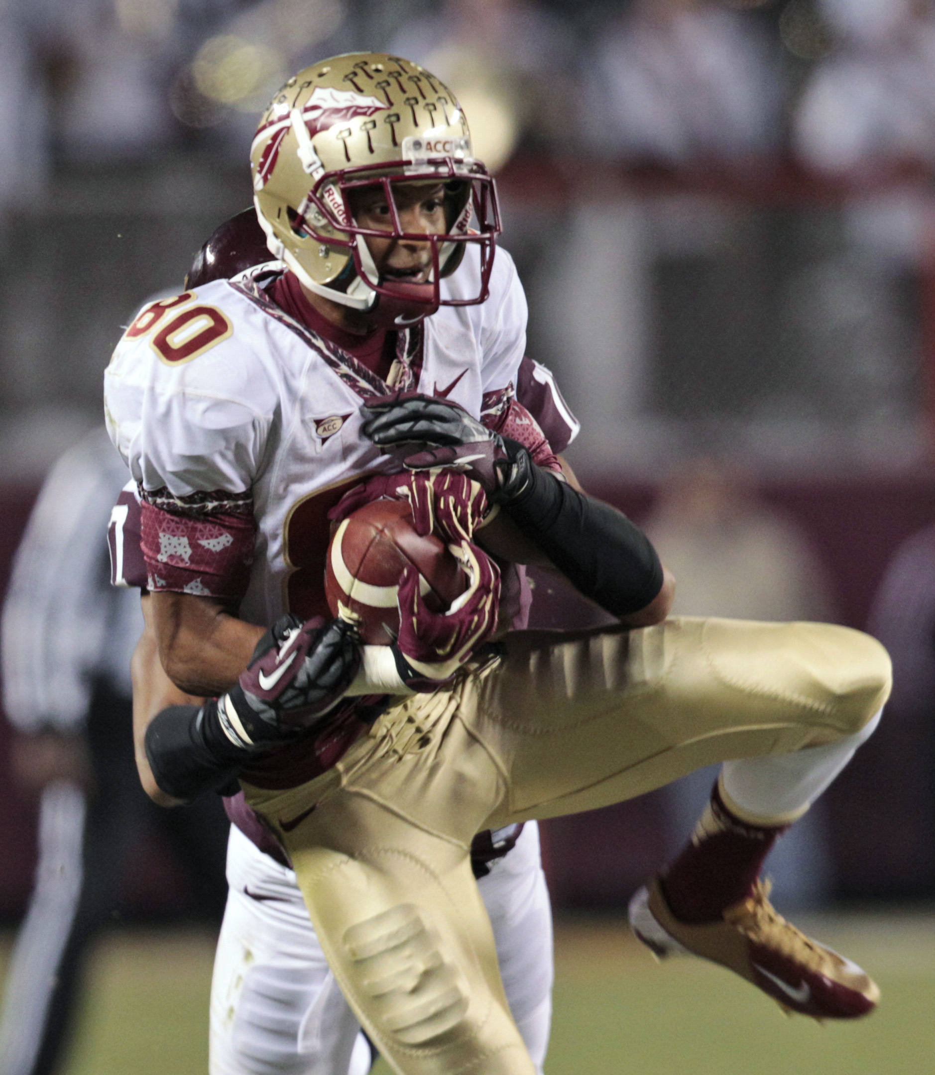 Florida State wide receiver Rashad Greene hauls in a pass. (AP Photo/Steve Helber)