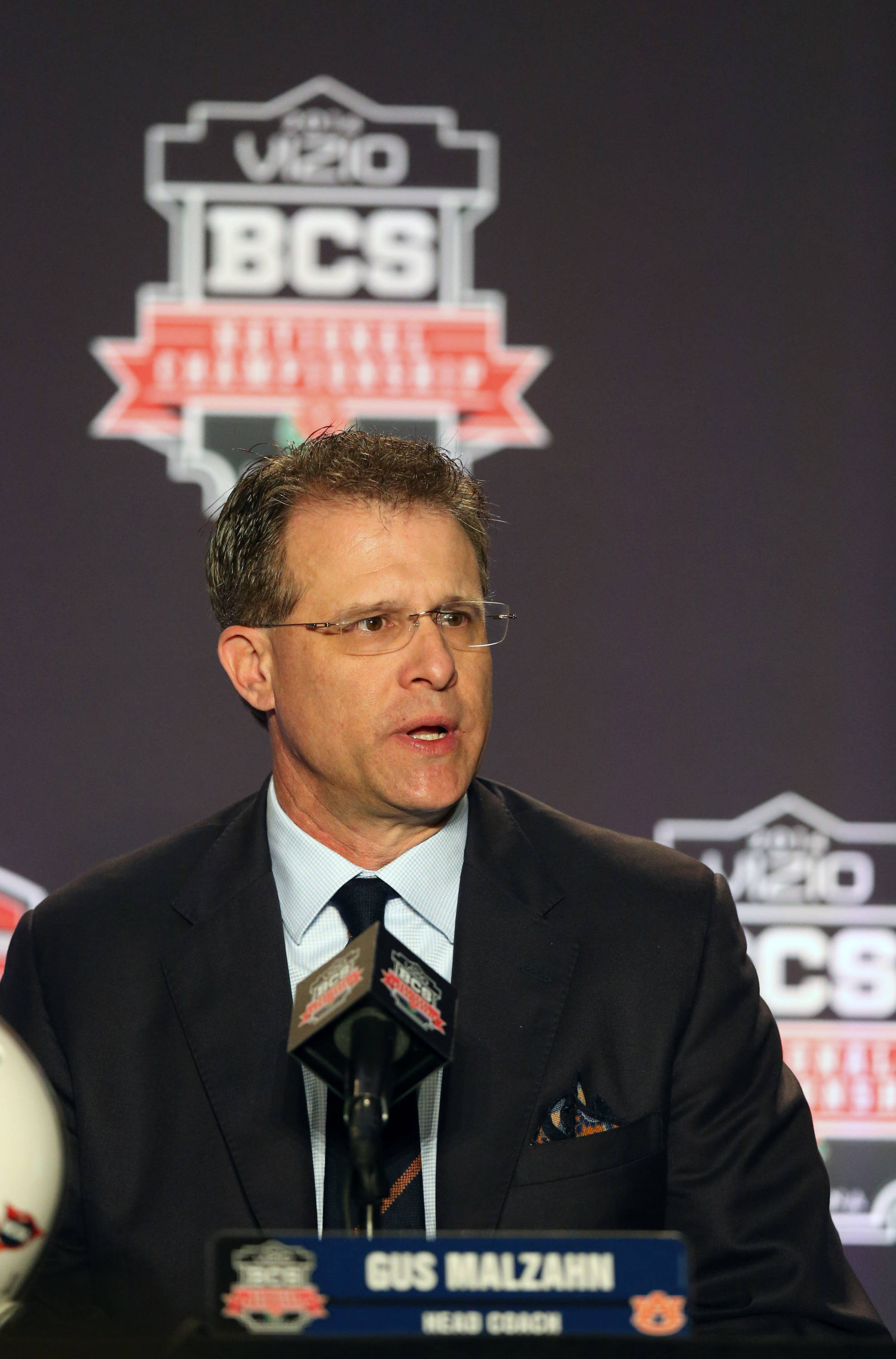 Jan 5, 2014; Los Angeles, CA, USA; Auburn Tigers head coach Gus Malzahn answers questions during a press conference at Newport Beach Marriott. Mandatory Credit: Matthew Emmons-USA TODAY Sports