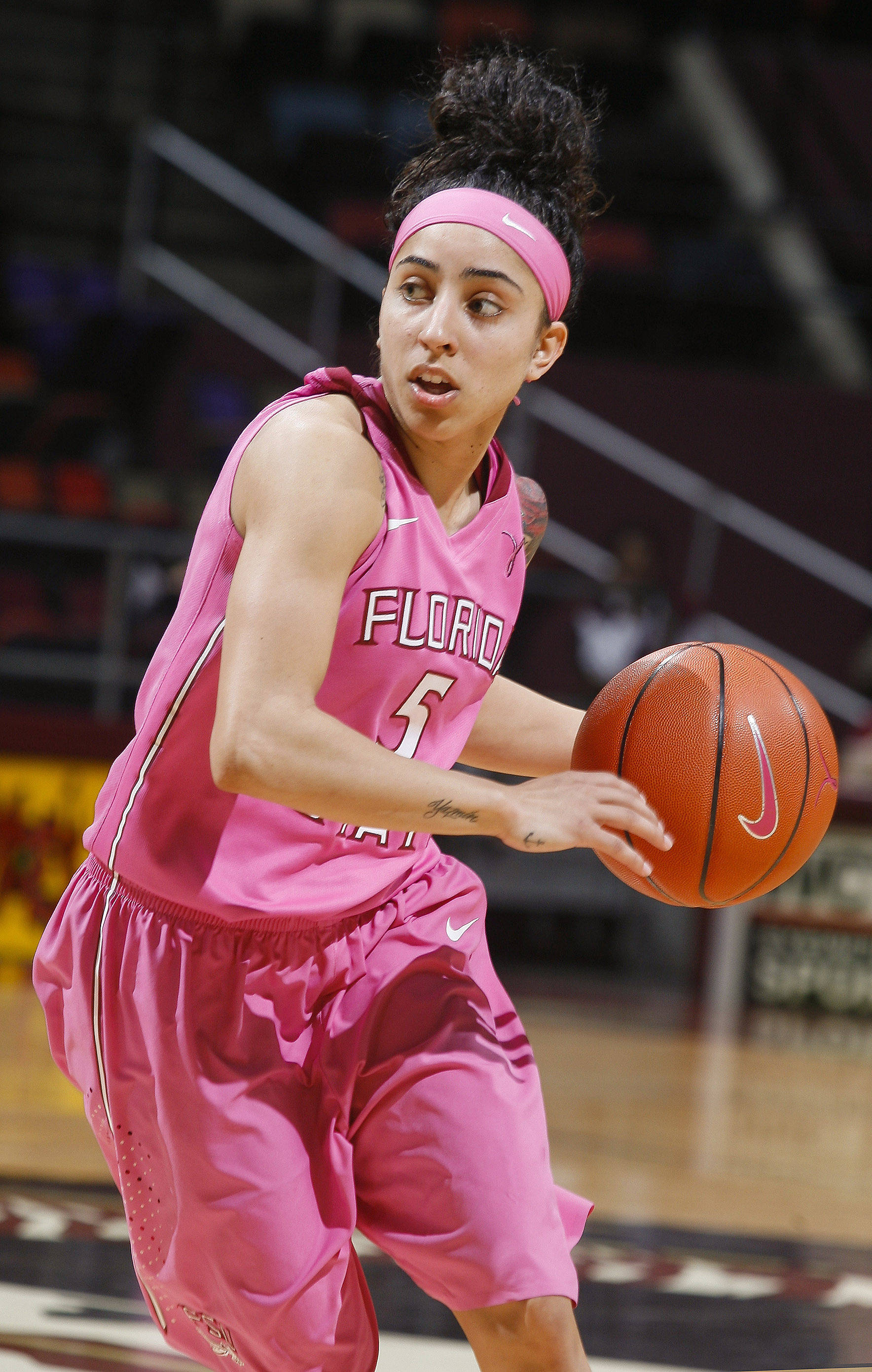 Feb 9, 2014; Tallahassee, FL, USA; Florida State Seminoles guard Cheetah Delgado (5) dribbles the ball in the second half against the Boston College Eagles. Mandatory Credit: Phil Sears-USA TODAY Sports