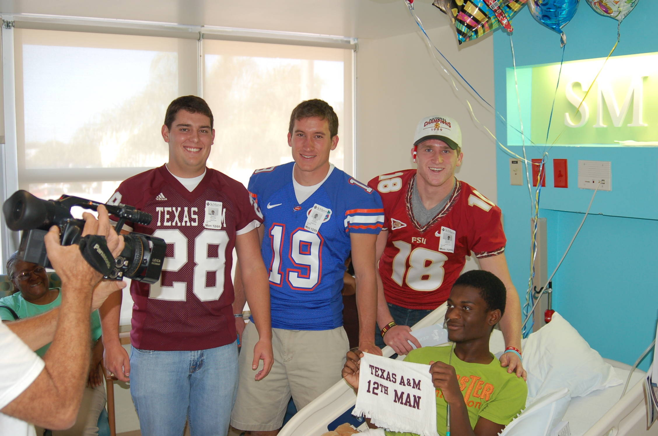 Lou Groza finalists Randy Bullock, Caleb Sturgis and Dustin Hopkins lifted the spirits of the patients at the Children's Hospital at St. Mary's Medical Center on Monday.