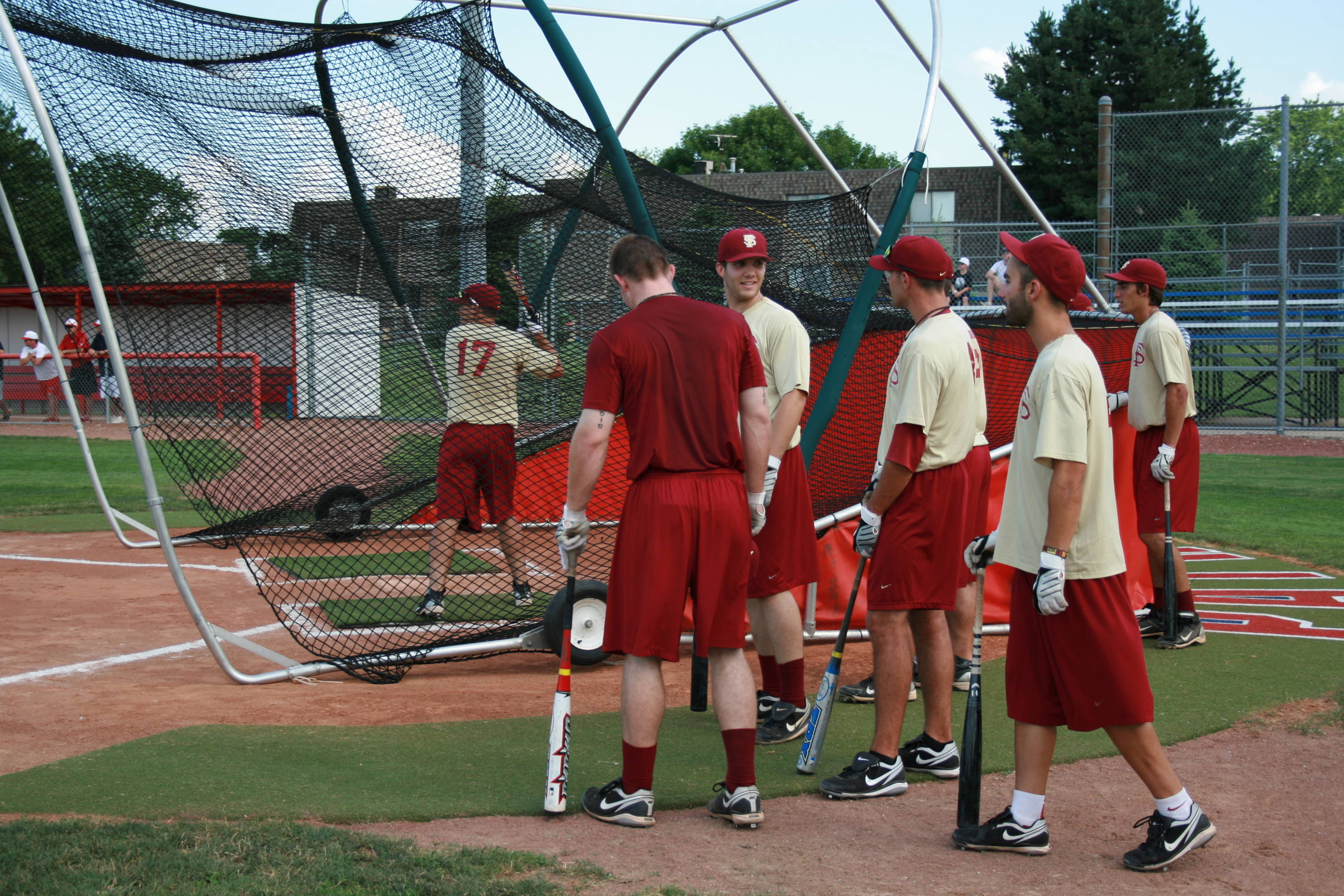 The Seminoles taking batting practice