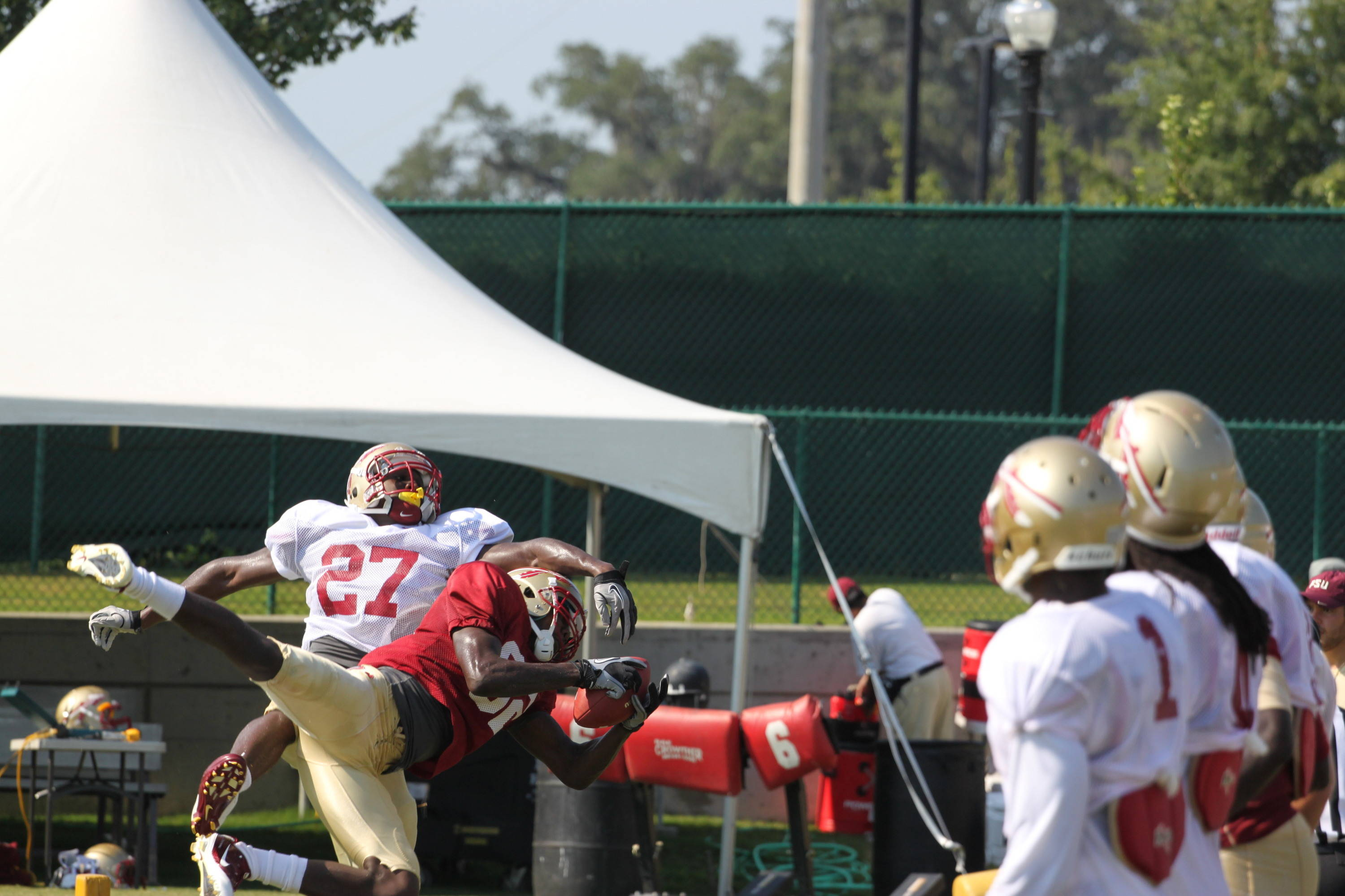 Scooter Haggins hauls in a touchdown pass in front of cornerback Xavier Rhodes as the 'Noles.