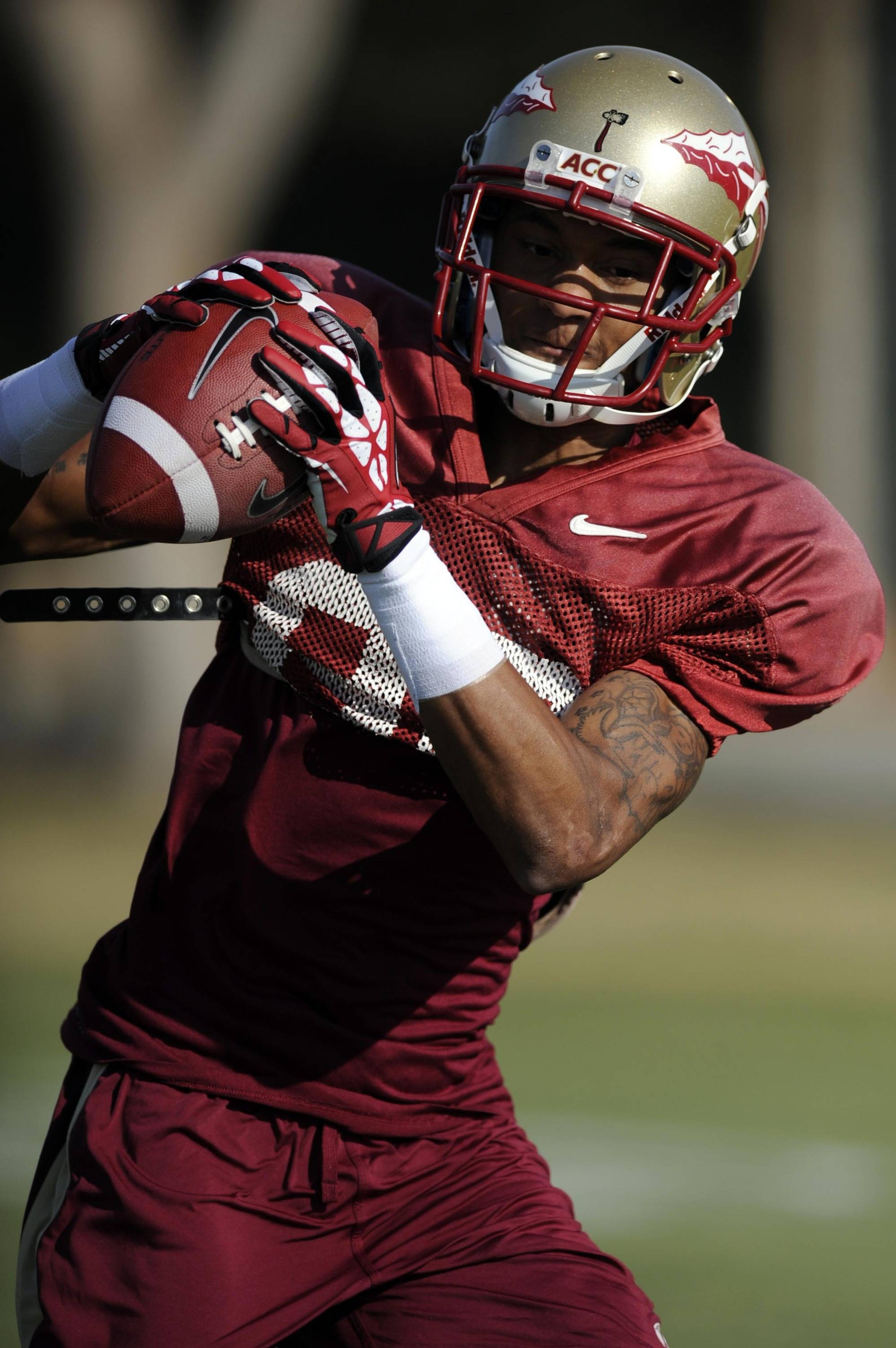 Jan 3, 2014; Orange, CA, USA; Florida State Seminoles wide receiver Rashad Greene (80) during practice for the BCS National Championship football game against the Auburn Tigers at Orange Coast College. Mandatory Credit: Kelvin Kuo-USA TODAY Sports
