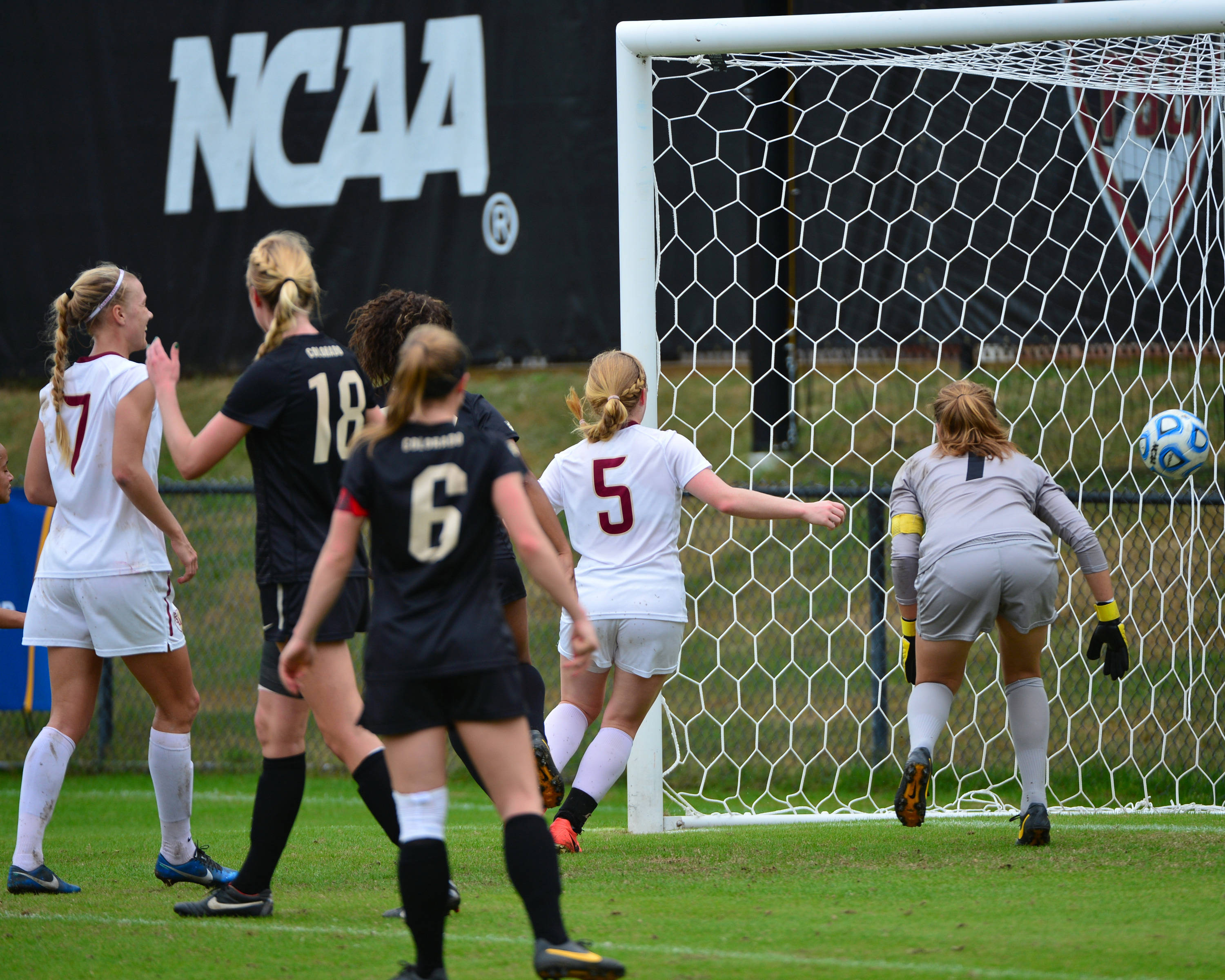 Dagny Brnyjarsdottir scores her second goal of the afternoon.