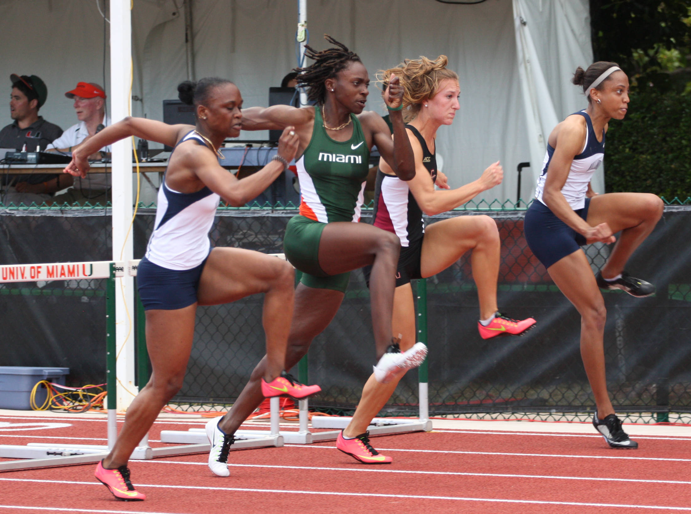 Nicole Setterington, second from right, was 100-meter hurdle runner-up.