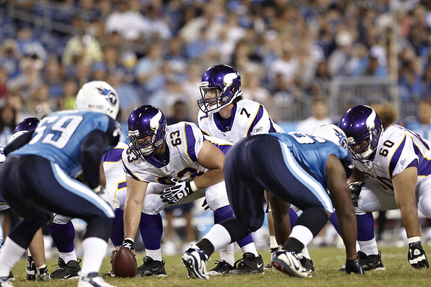 Nashville, TN - August 13, 2011: Preseason Game, Minnesota Vikings vs the Tennessee Titans at LP Field in Nashville, TN on Saturday, August 13, 2011. (Photo by Minnesota Vikings-Steve Smith Photography)