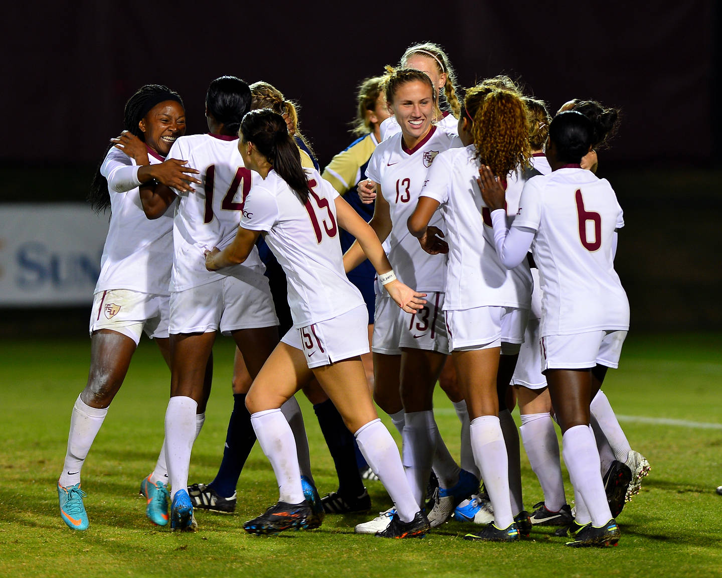 The Seminoles celebrate after Tiffany McCarty gave FSU a 1-0 lead.