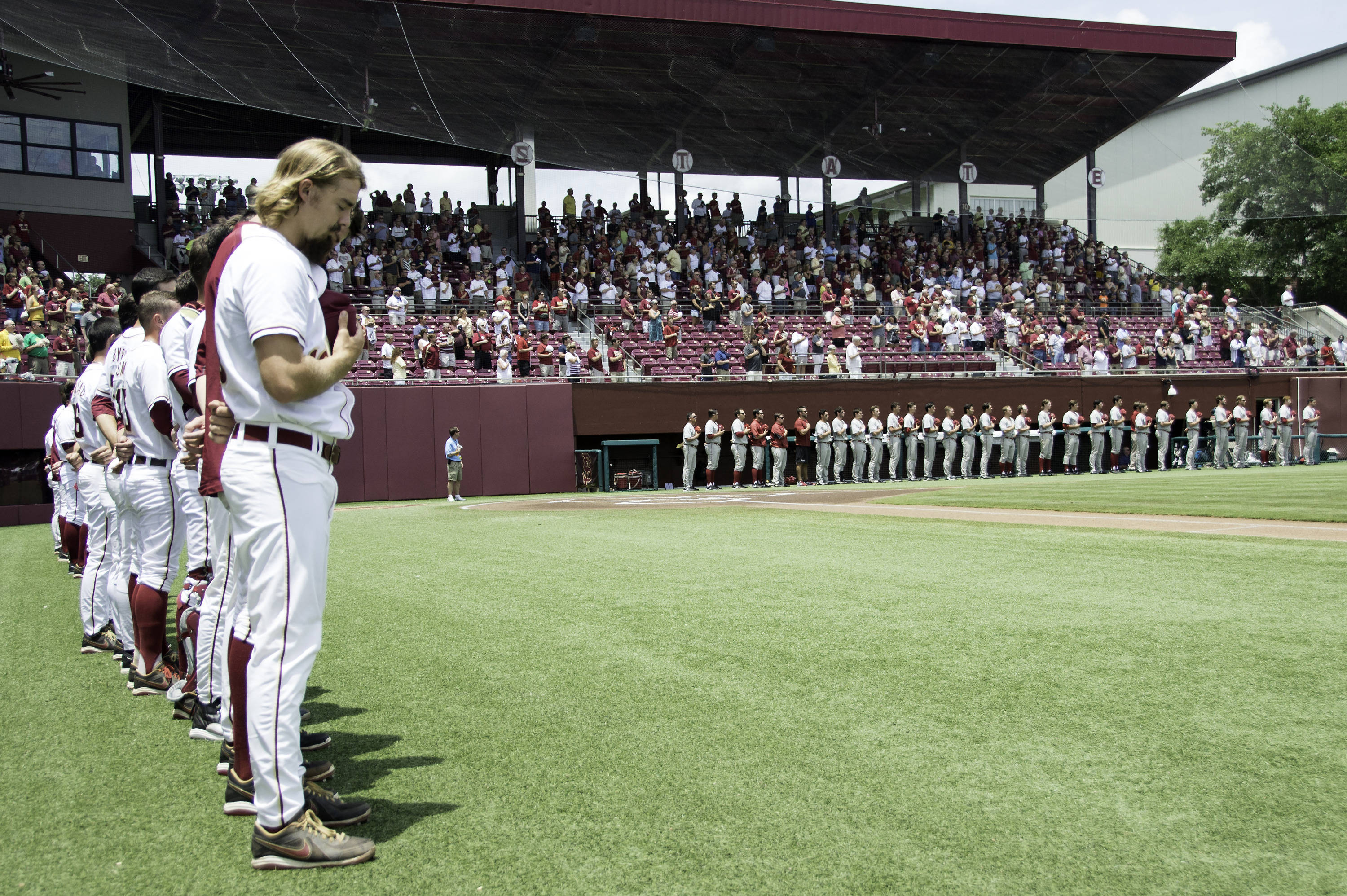 Florida State and Alabama during the national anthem.