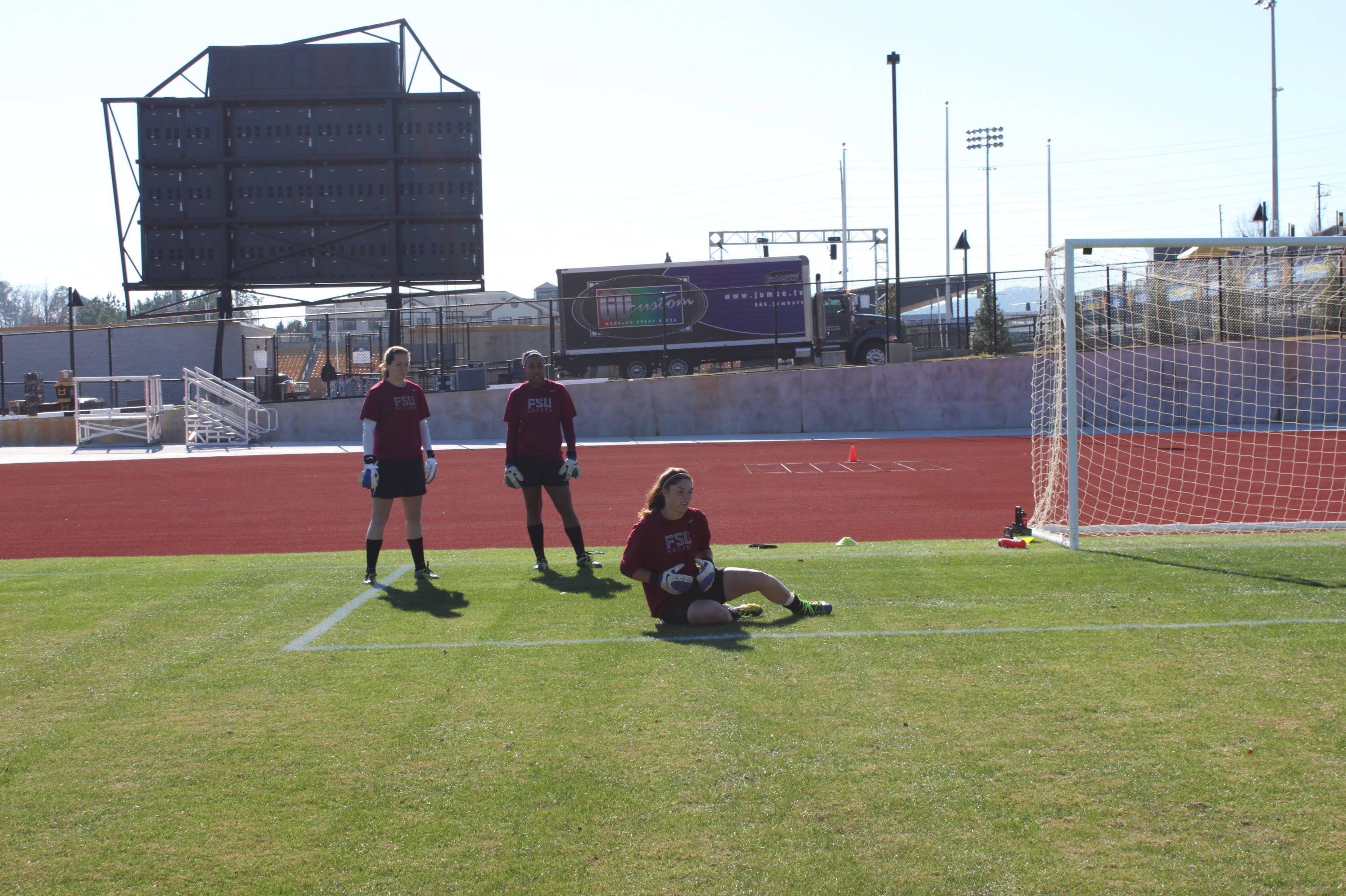 Goalies getting warmed up for practice at the Kennesaw Soccer Complex