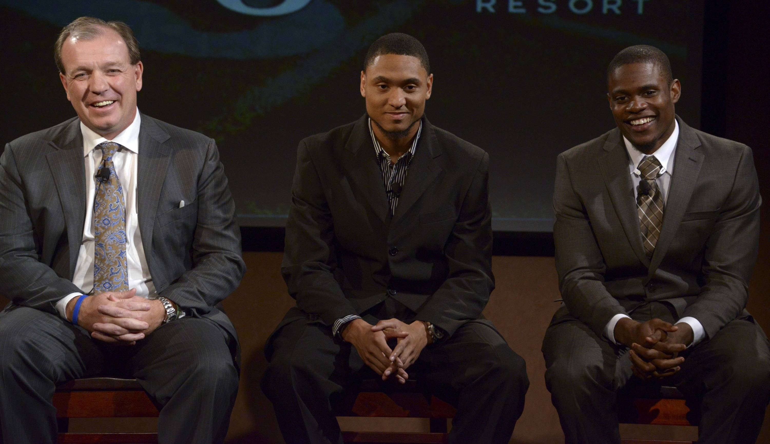 Florida State Seminoles coach Jimbo Fisher (left) and receiver Rashad Greene (center) and defensive back Lamarcus Joyner at a press conference for the 2014 BCS National Championship at ESPN Zone Downtown Disney. Mandatory Credit: Kirby Lee-USA TODAY Sports