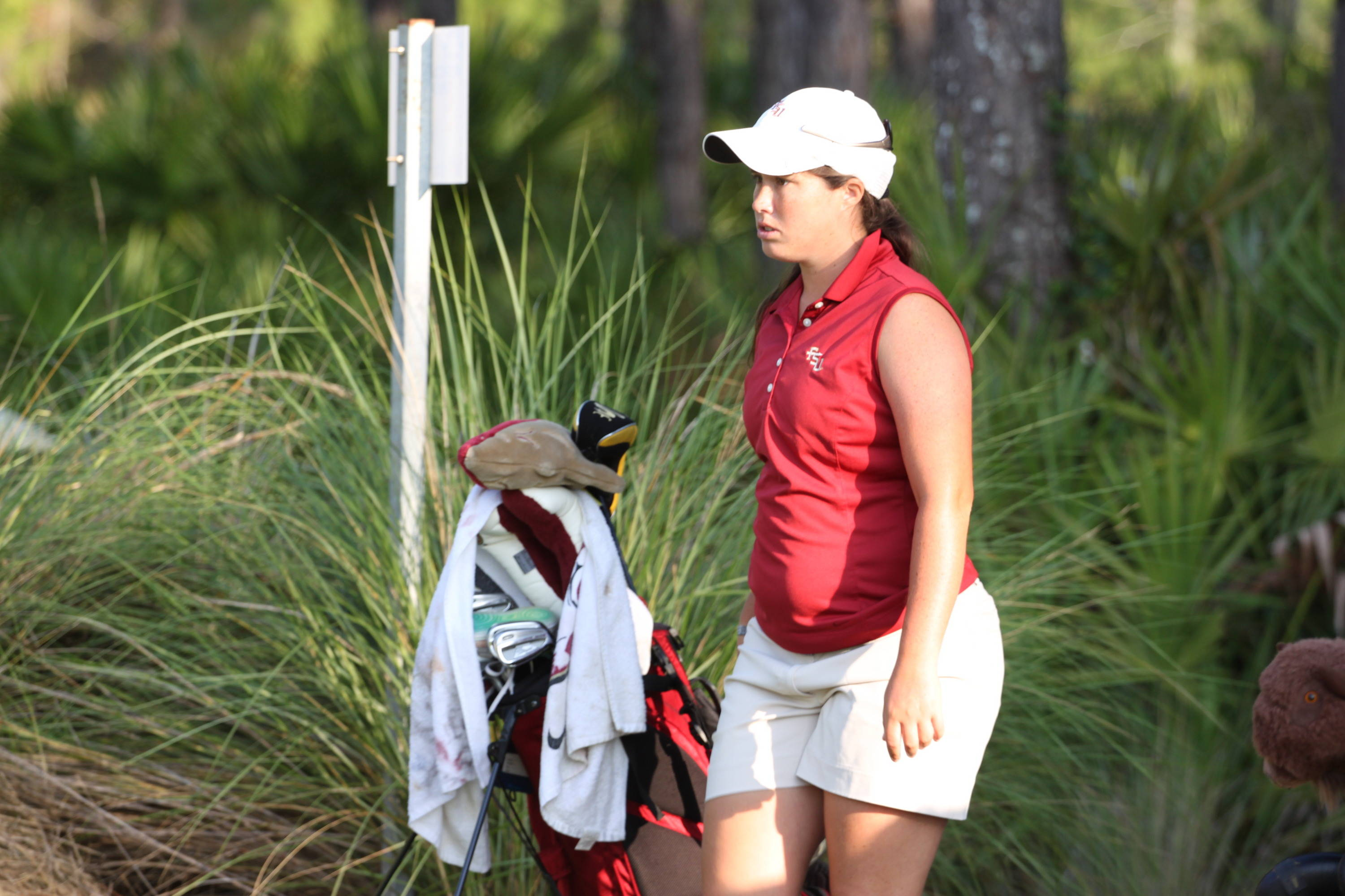 2011 NCAA Golf -- Maria Salinas prepares for action