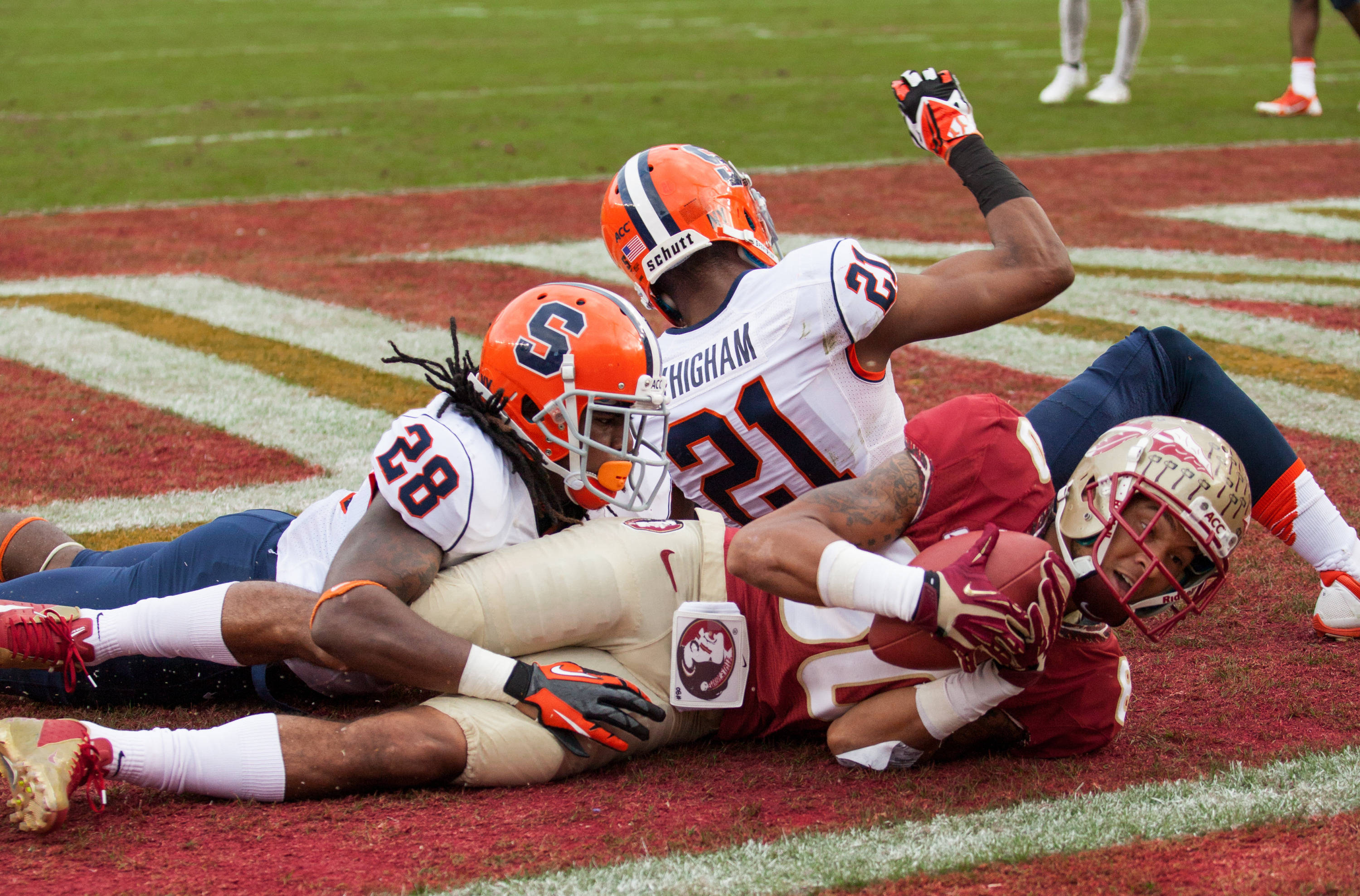 Rashad Greene (80) scores a touchdown during FSU Football's 59-3 win over Syracuse on Saturday, November 16, 2013 in Tallahassee, Fla. Photo by Mike Schwarz.