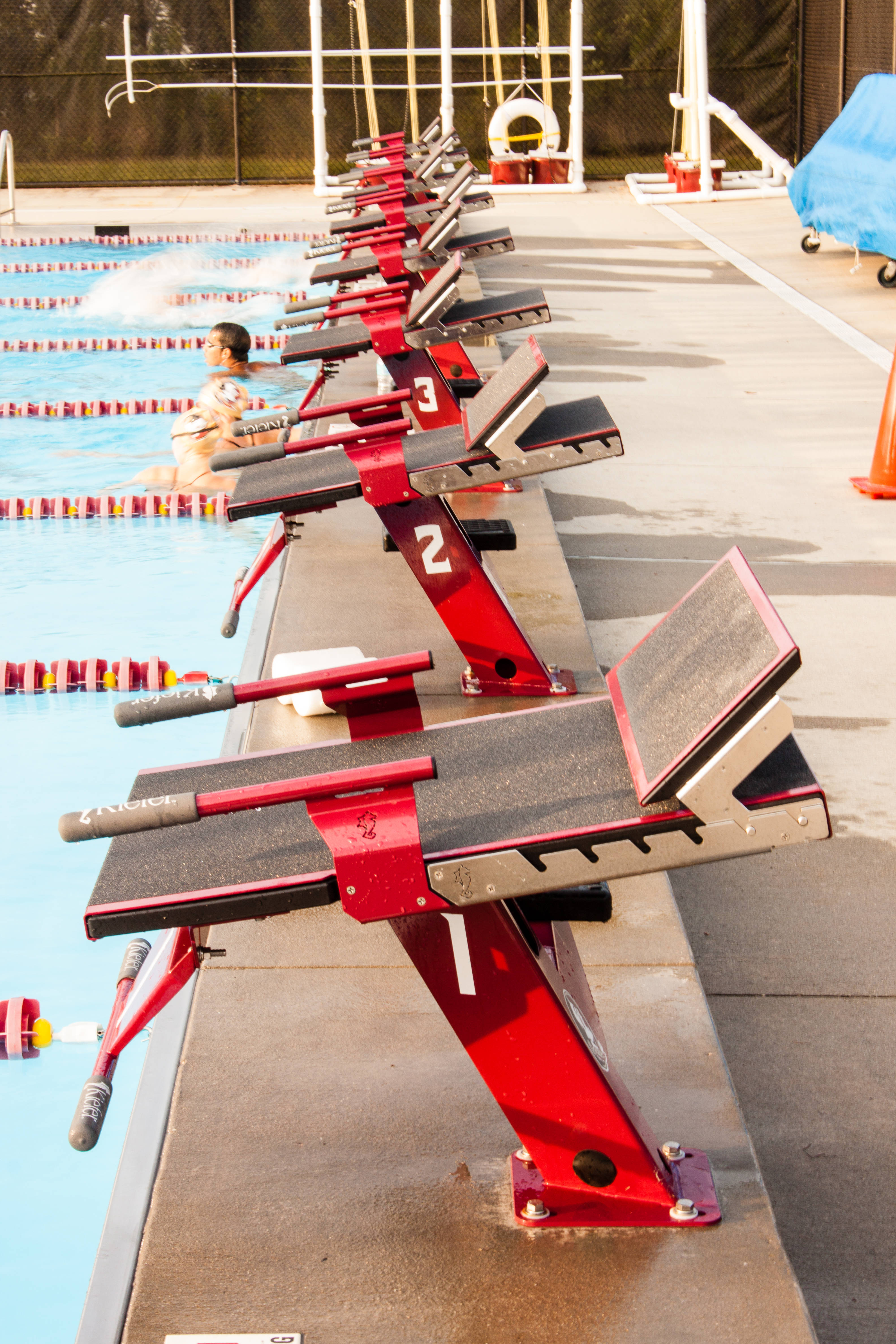 The improved starting blocks were added to the facility in 2014.