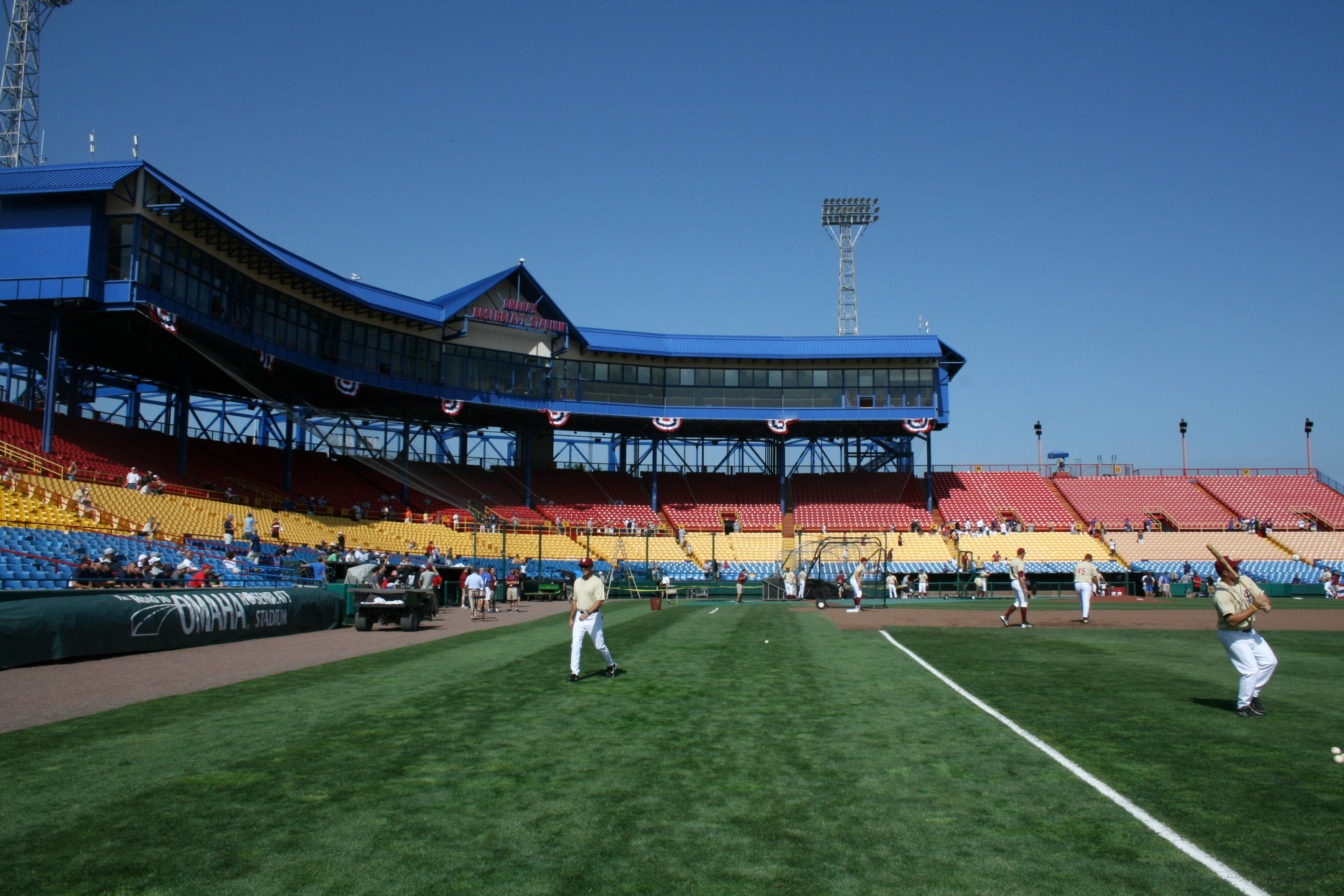 Practice day inside Rosenblatt Stadium