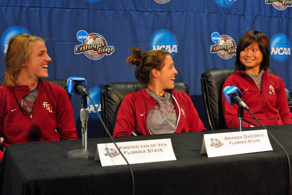 (L to R) Kirsten van de Ven, Amanda DaCosta and Mami Yamaguchi in the pre-championship press conference Saturday afternoon