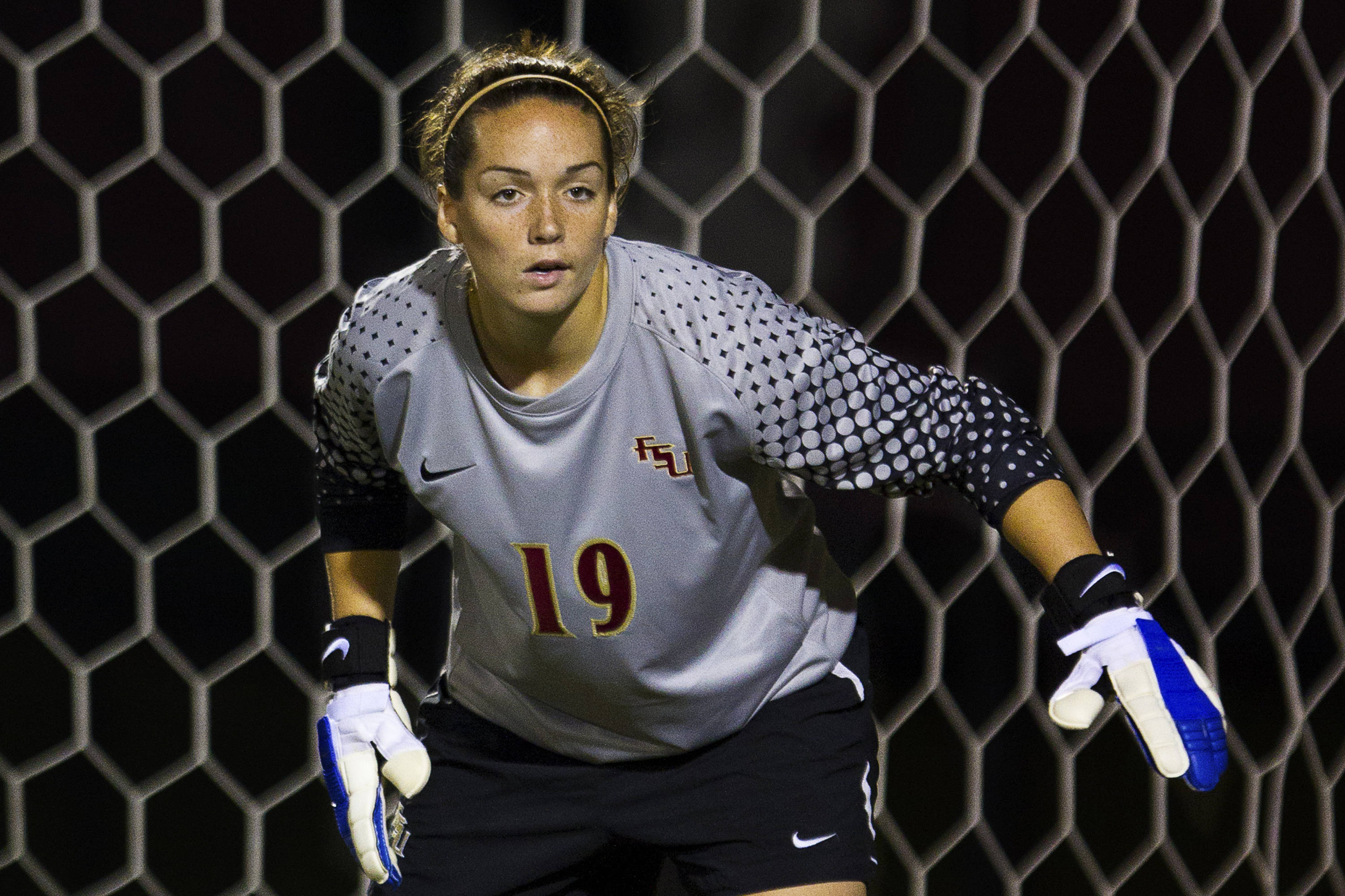 FSU keeper  Kelsey Wys (19) watches a Maryland striker carry the ball down the field during the game against Maryland on October 13, 2011.