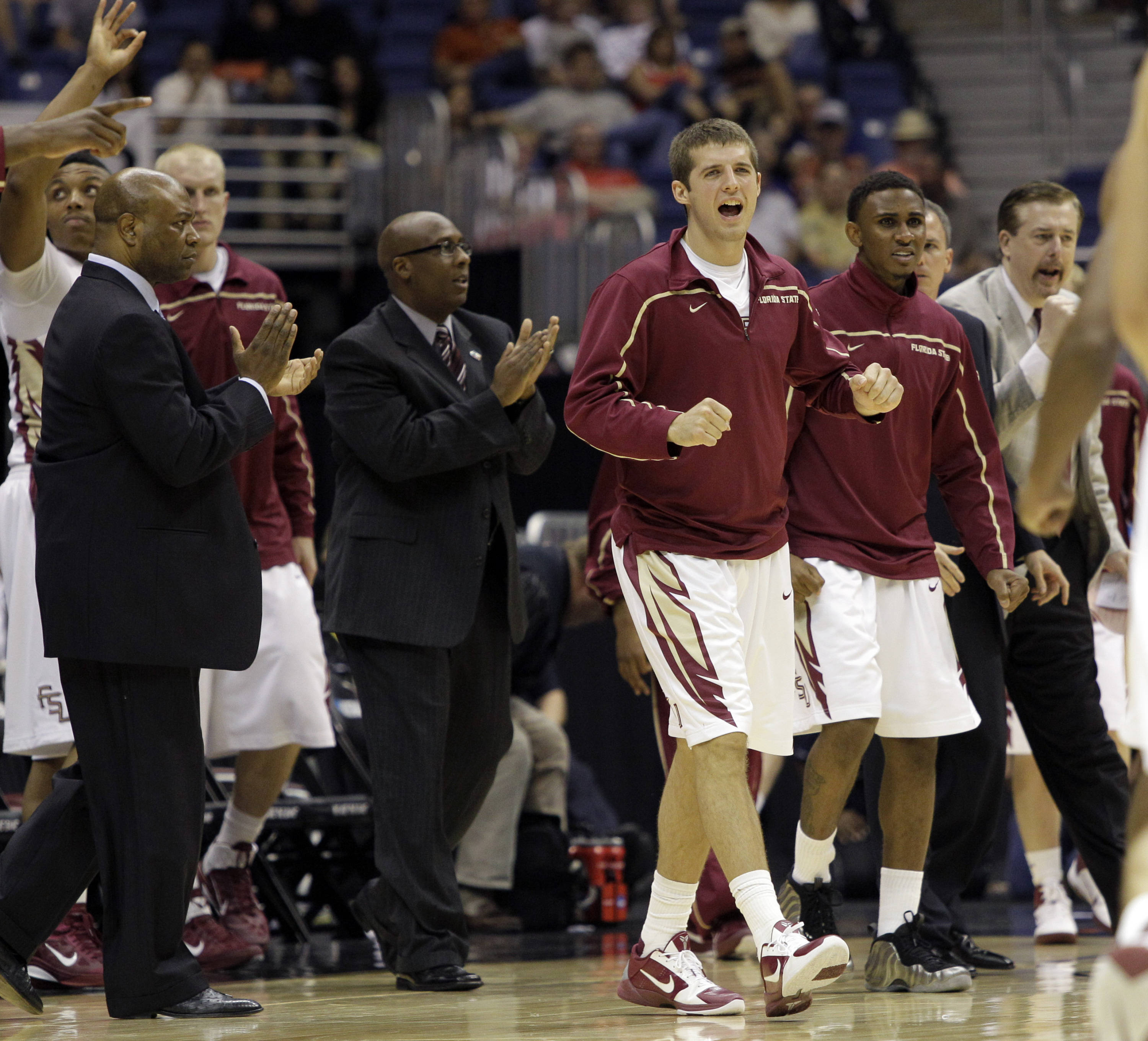 The Florida State bench reacts to a play against the Virginia Commonwealth. (AP Photo/Tony Gutierrez)