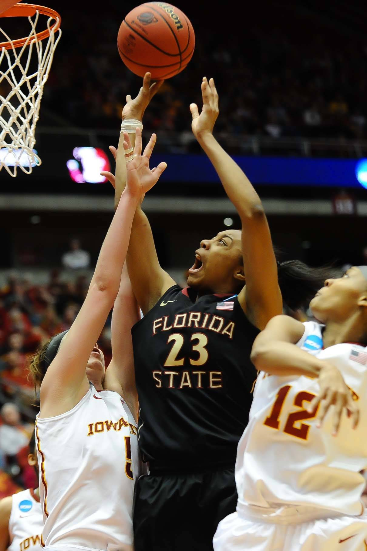 Mar 22, 2014; Ames, IA, USA; Florida State Seminoles forward Ivey Slaughter (23) attempts a shot against the Iowa State Cyclones. Mandatory Credit: Steven Branscombe-USA TODAY Sports
