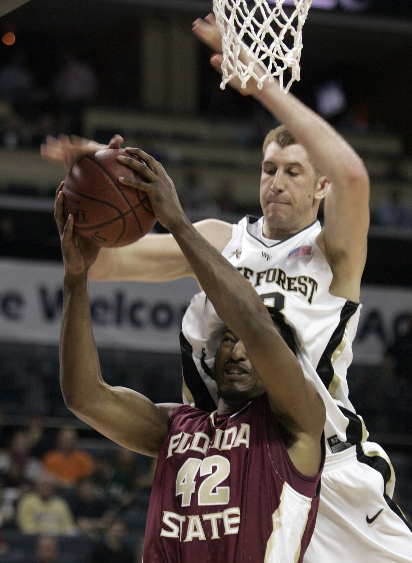 Florida State Plays Host To Tennessee Tech On Tuesday At 700 Pm Snap Circuit Xp Ryan Reid Is Fouled By Wake Forest Center Chas Mcfarland In The First Half